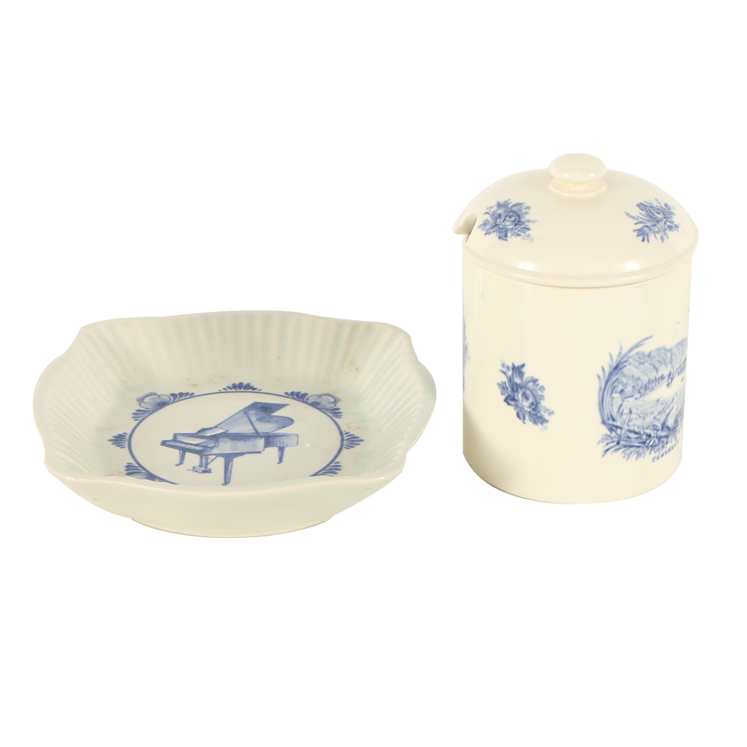 Rex Whistler Wedgwood Jam Pot and Small Delft Dish