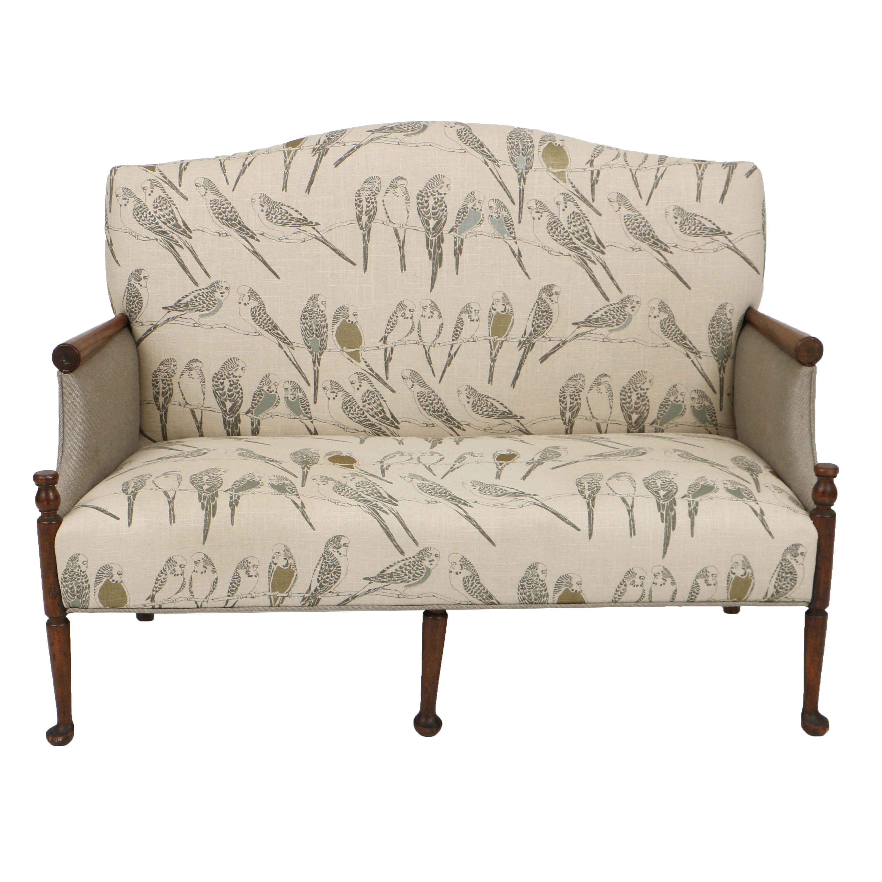 Vintage Queen Anne Style Walnut Settee in Custom, Parakeet Upholstery