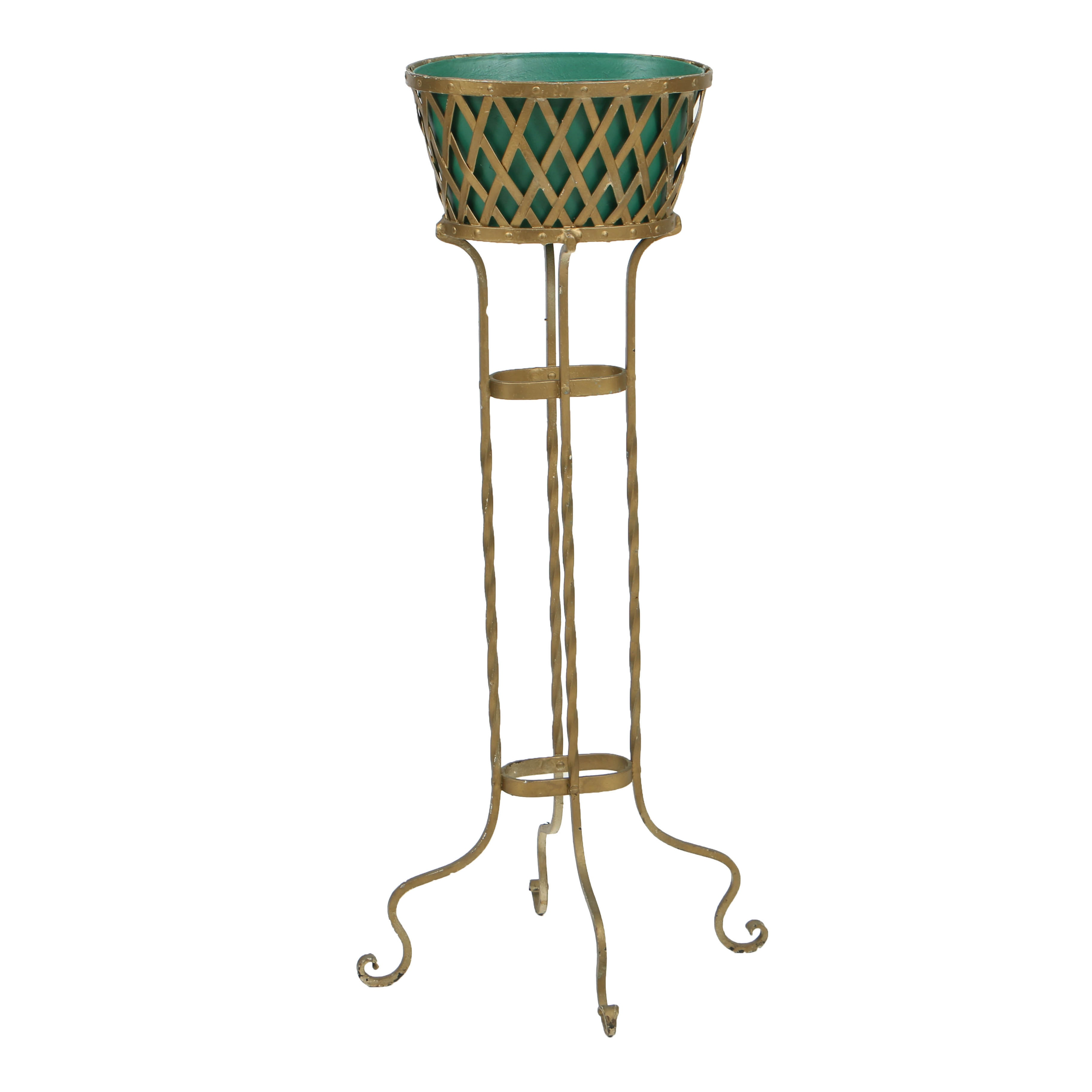 Vintage Wrought Iron Plant Stand with Insert, Circa Second Quarter 20th Century