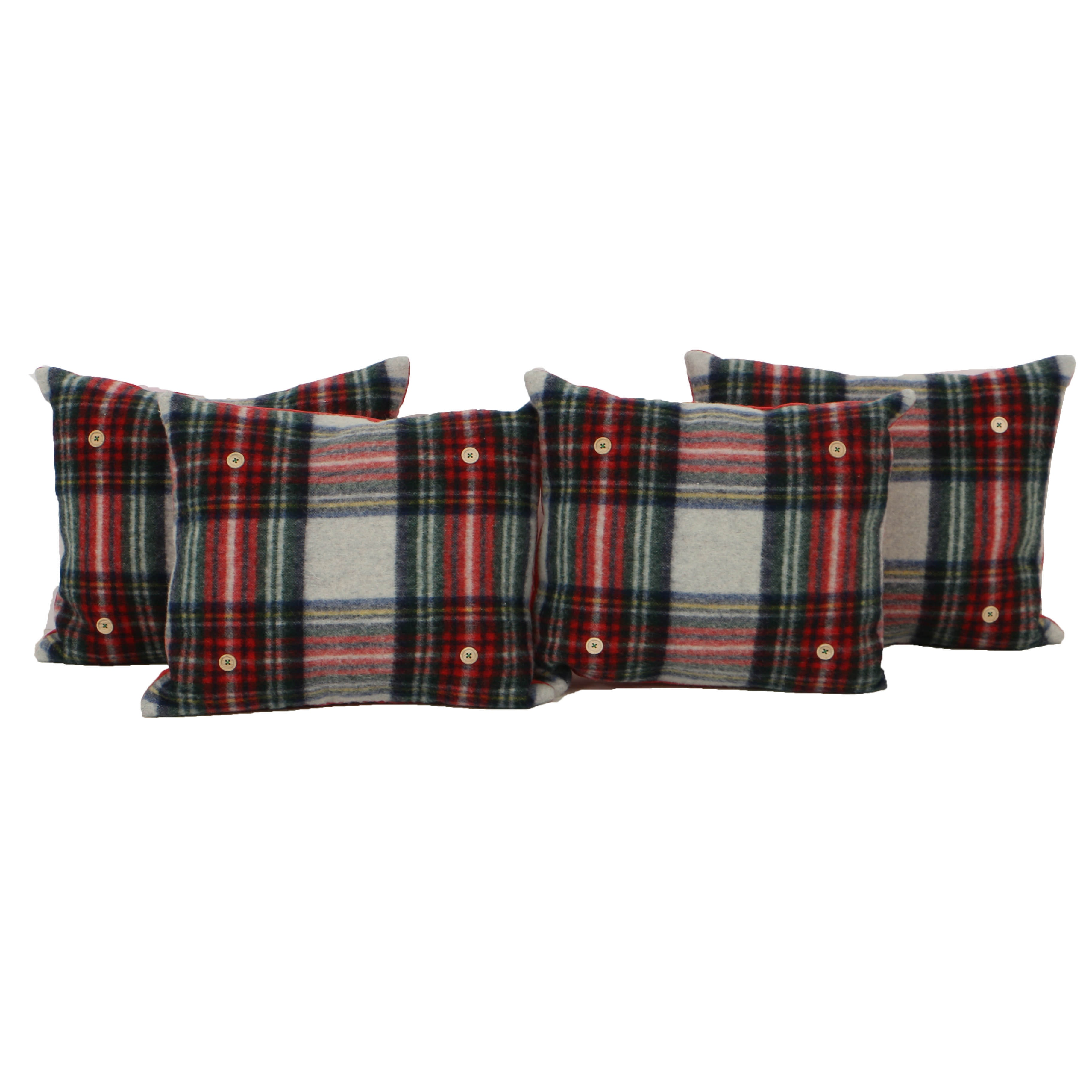 Pendelton Tartan Pillows With Button Accents