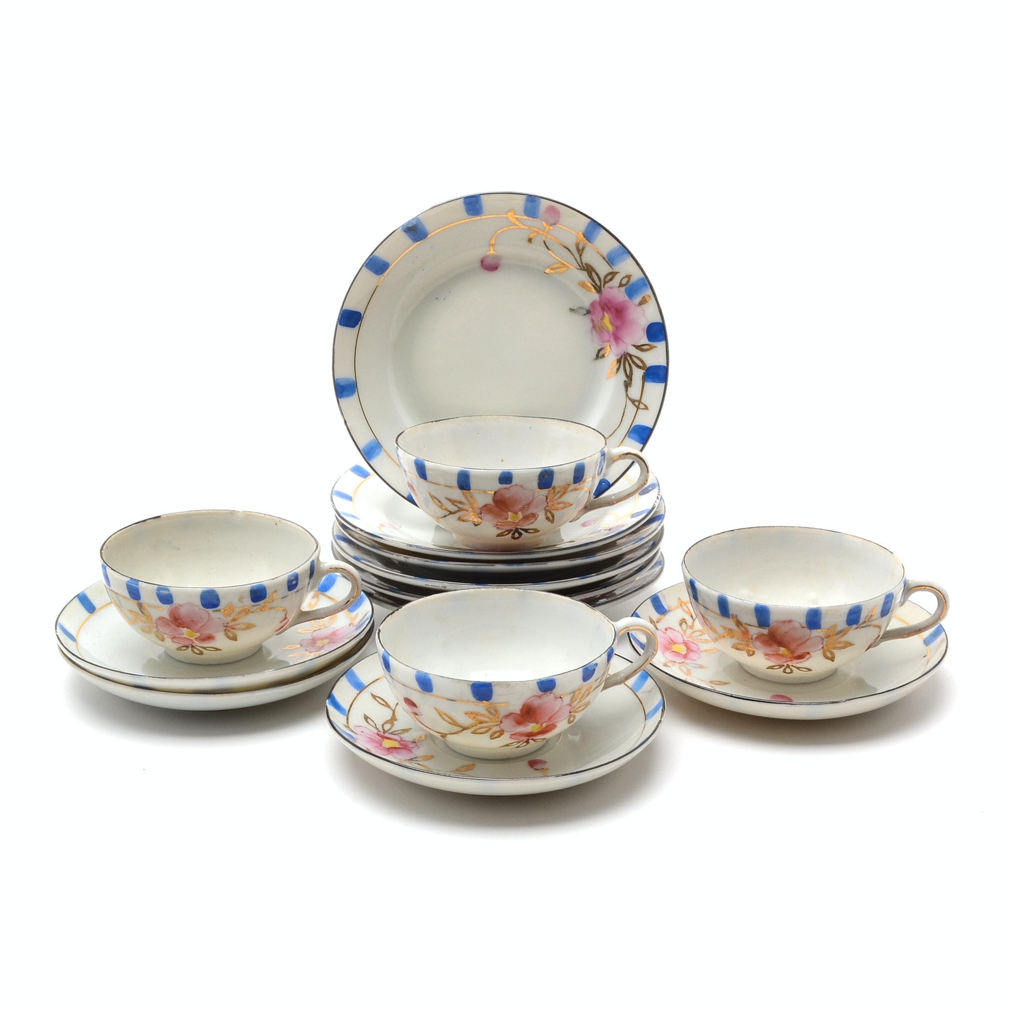 Vintage Child's Size Porcelain Teacups, Saucers and Plates