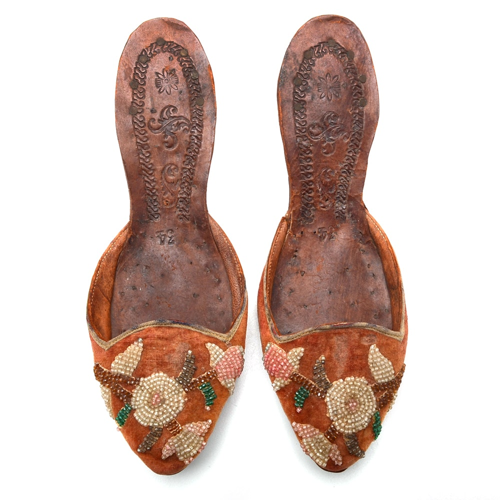 Circa 1870s Beaded Slipper Style Italian Shoes