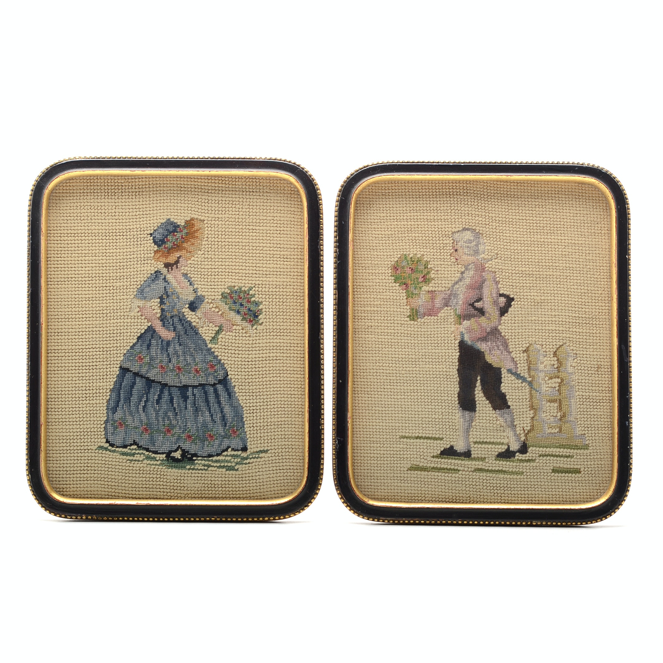 Pair of Framed Needlepoint and Petite-point Portraits