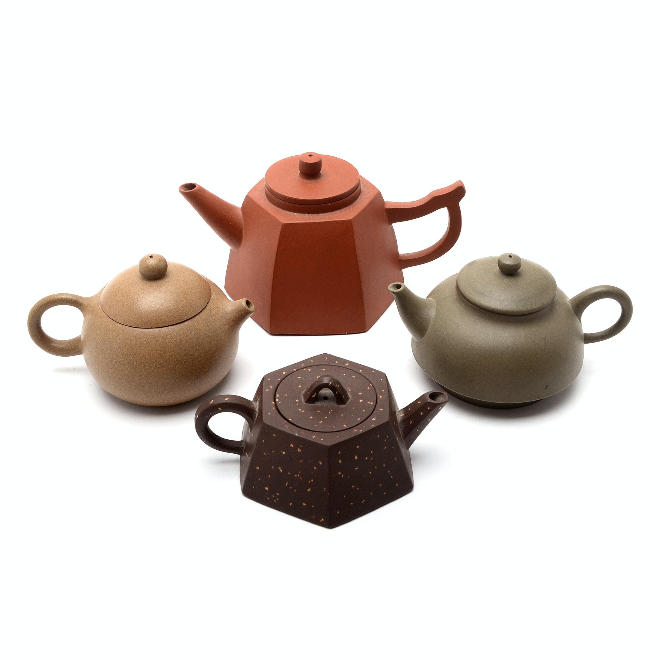Four Yi Xing Clay Teapots
