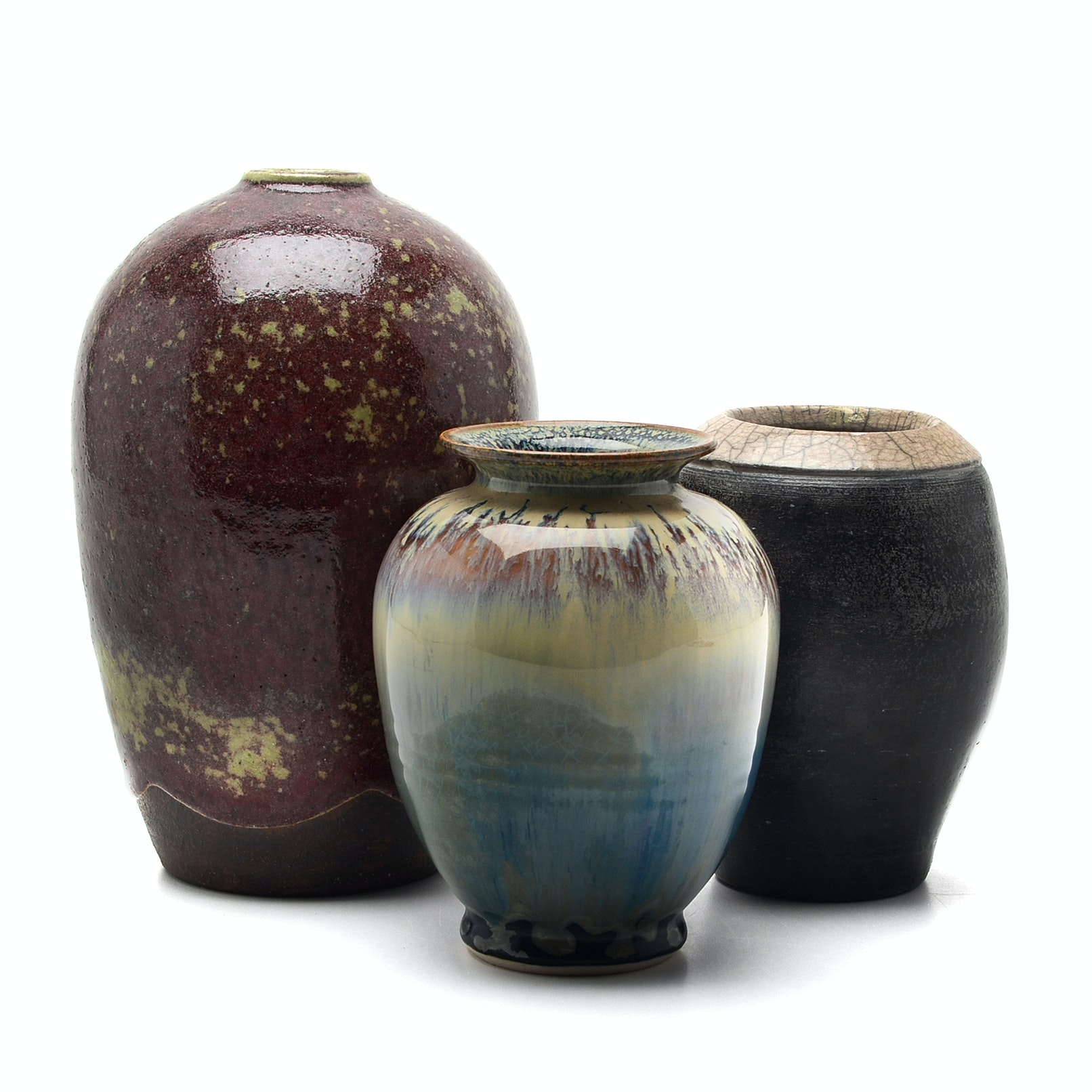 Art Pottery Vases Including Ben Owen III Signed Melon Vase