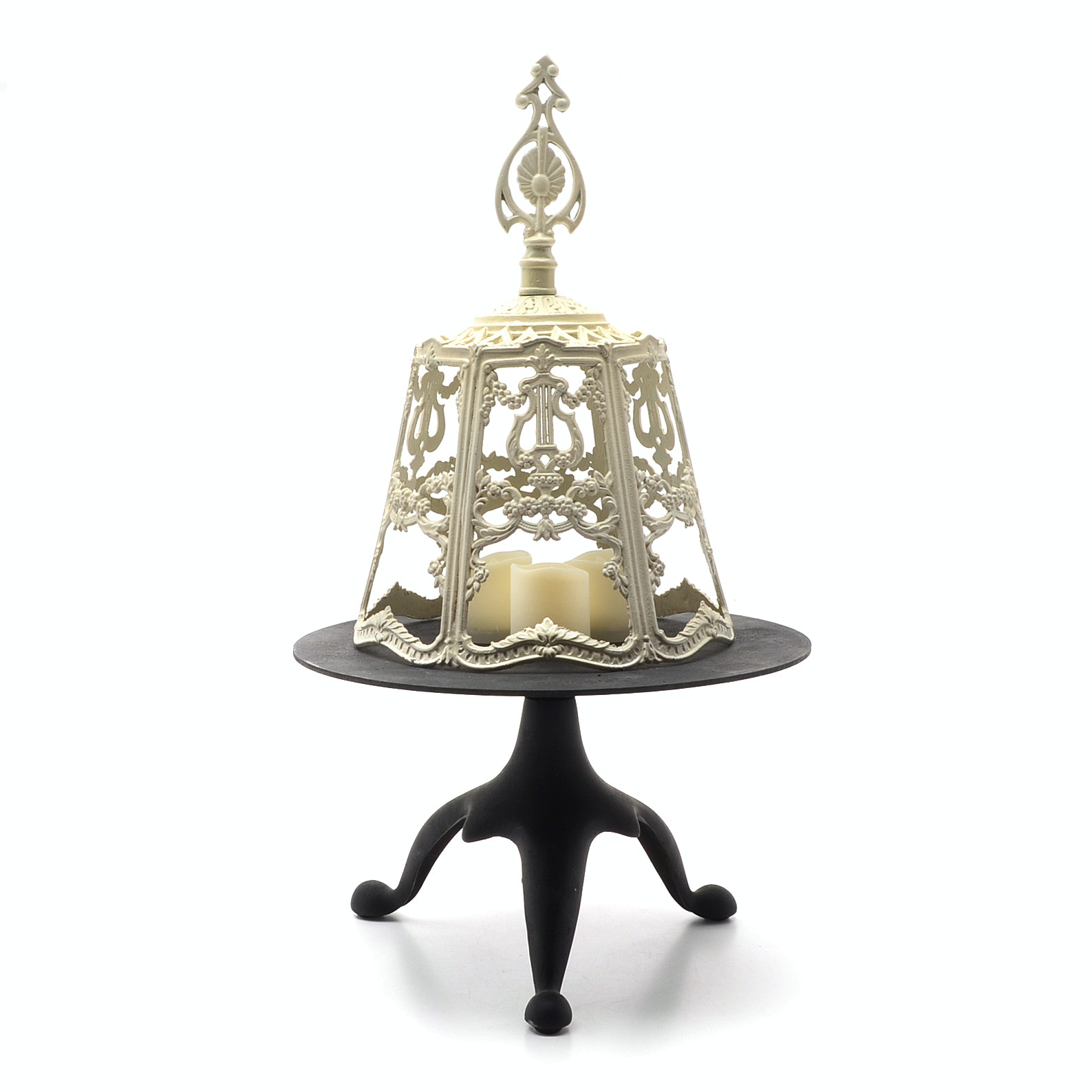 Black Cast Iron Stand with Metal Votive Shade and Three Battery Candles