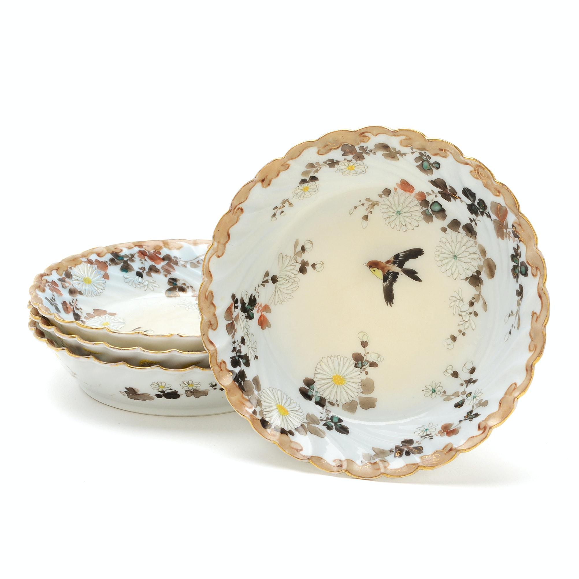 Set of Four Hand-Painted Porcelain Fruit Bowls