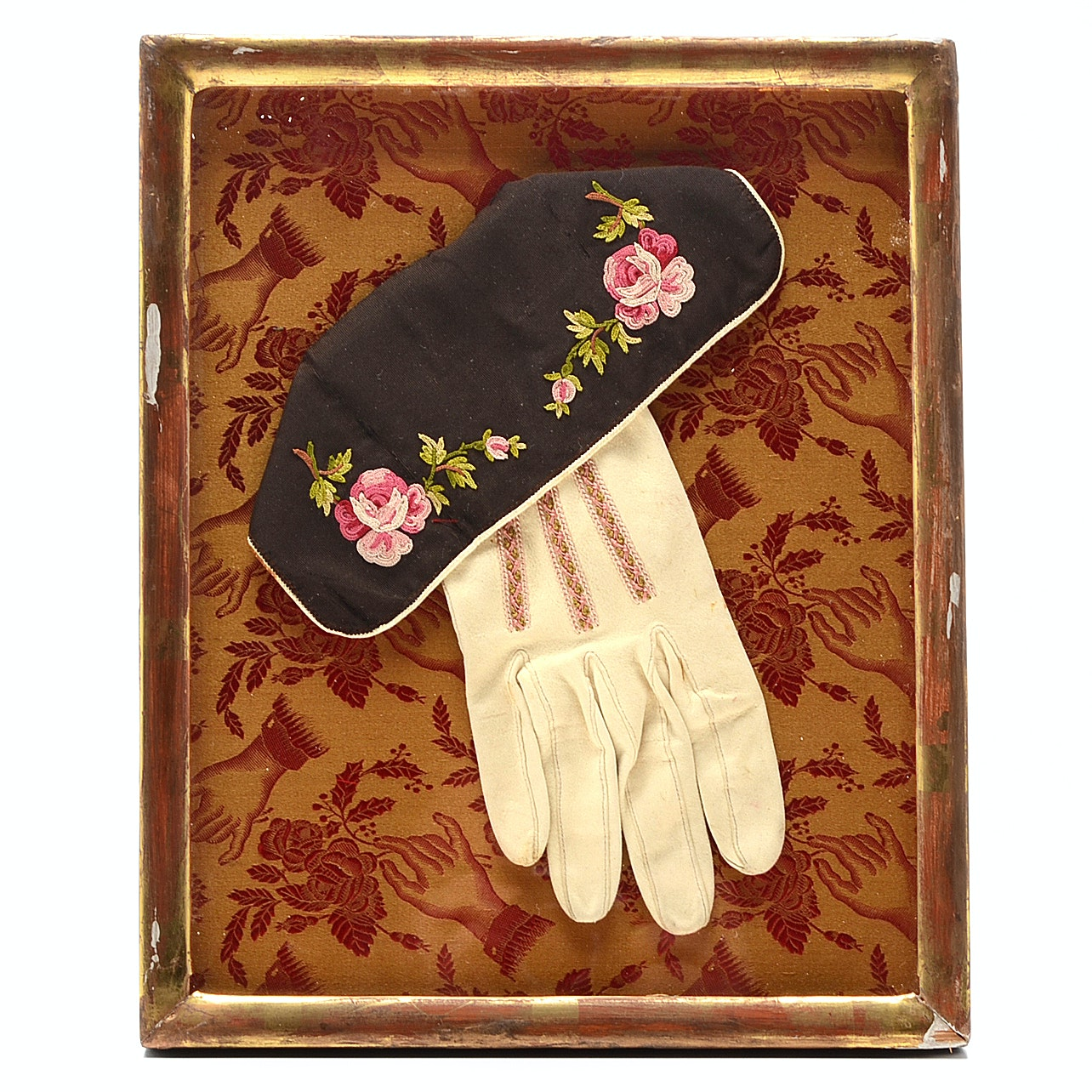 Framed Antique  Chain Stitched Chamois Glove