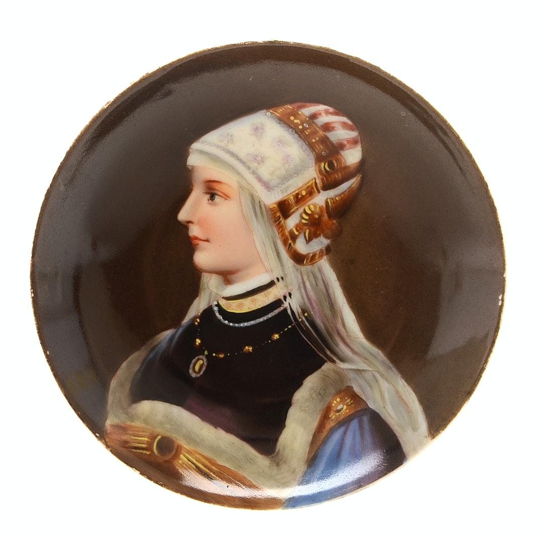 Antique Hand Painted Porcelain Portrait Plate