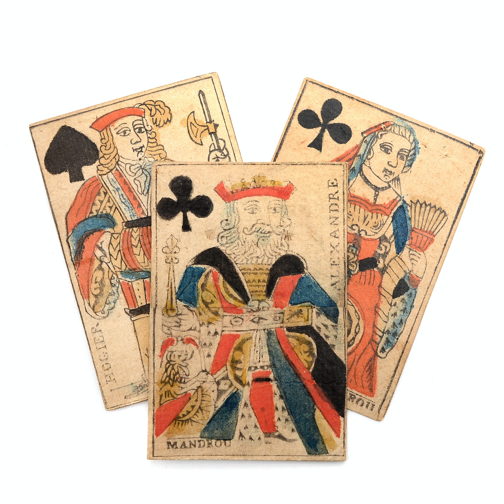 Three 18th Century French Playing Cards From Mandrou, (1754- 1808)
