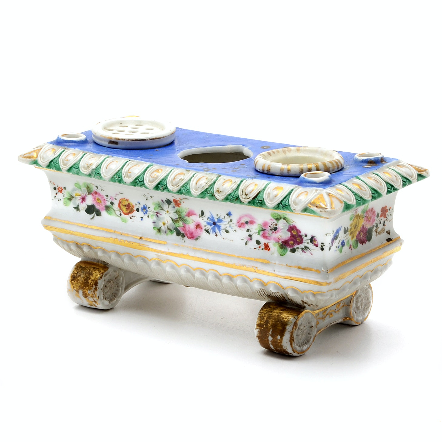 French Old Paris Porcelain Footed Double Inkwell