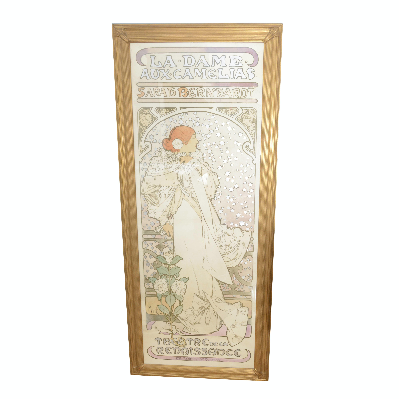 """Alphonse Mucha Art Nouveau Lithograph """"La Dame Aux Camélias"""""""