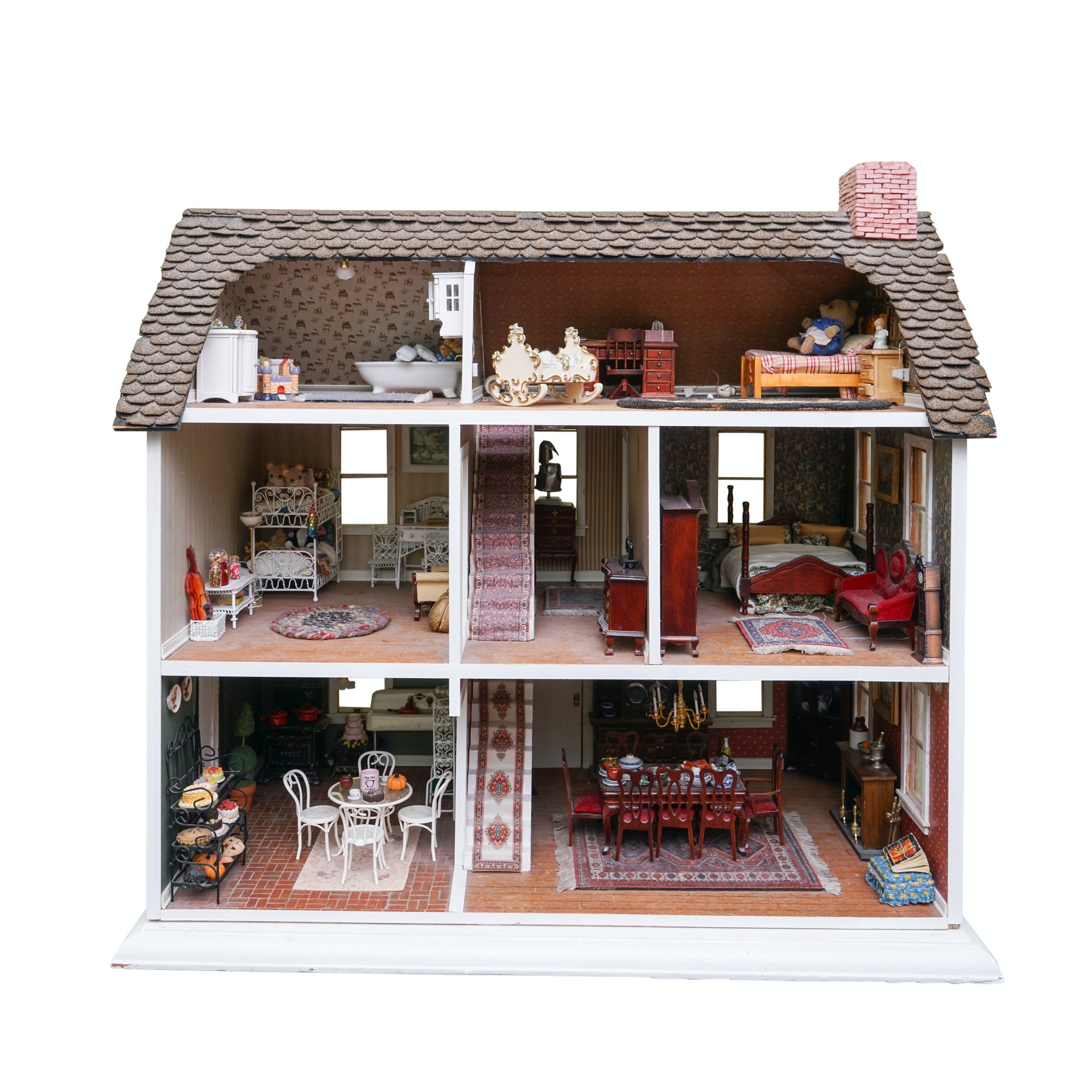 Vintage Dollhouse With Complete Furnishings Ebth