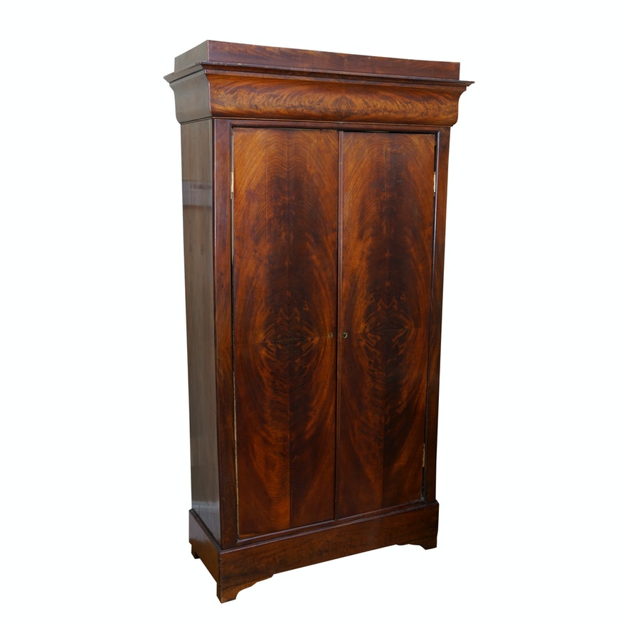 Antique Louis Philippe Armoire / Corner Media Cabinet ... - Antique Louis Philippe Armoire / Corner Media Cabinet : EBTH