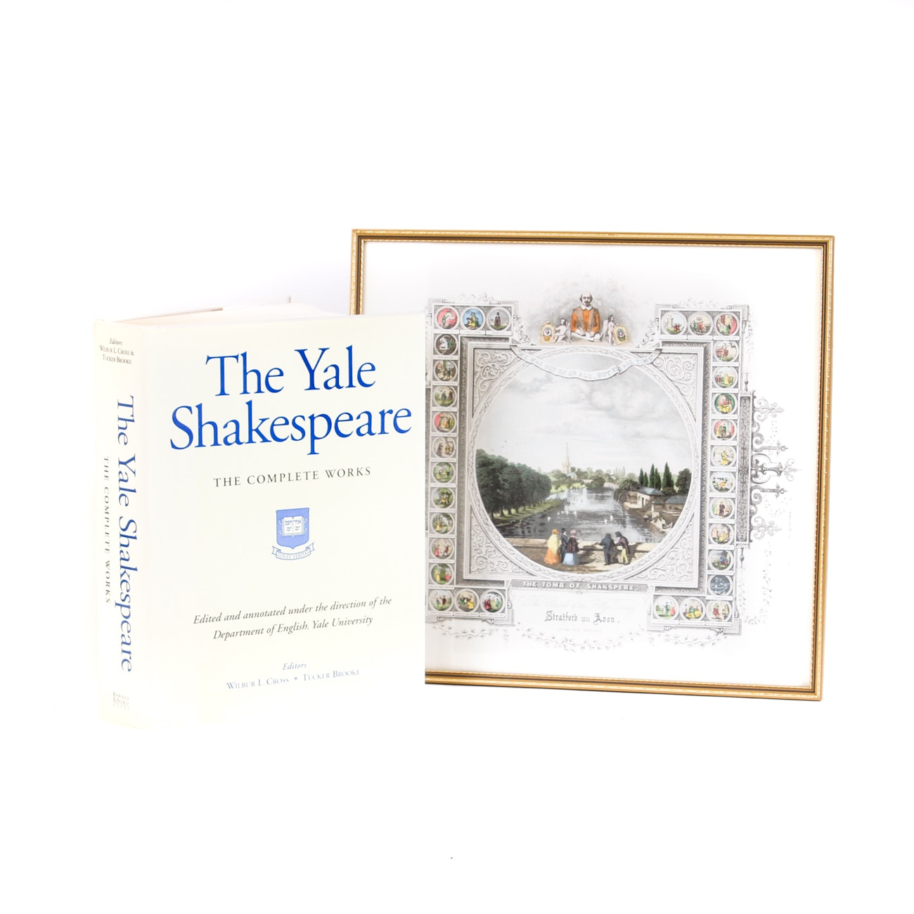 """Volume """"The Yale Shakespeare"""" and Framed Print of """"The Tomb of Shakspere"""""""