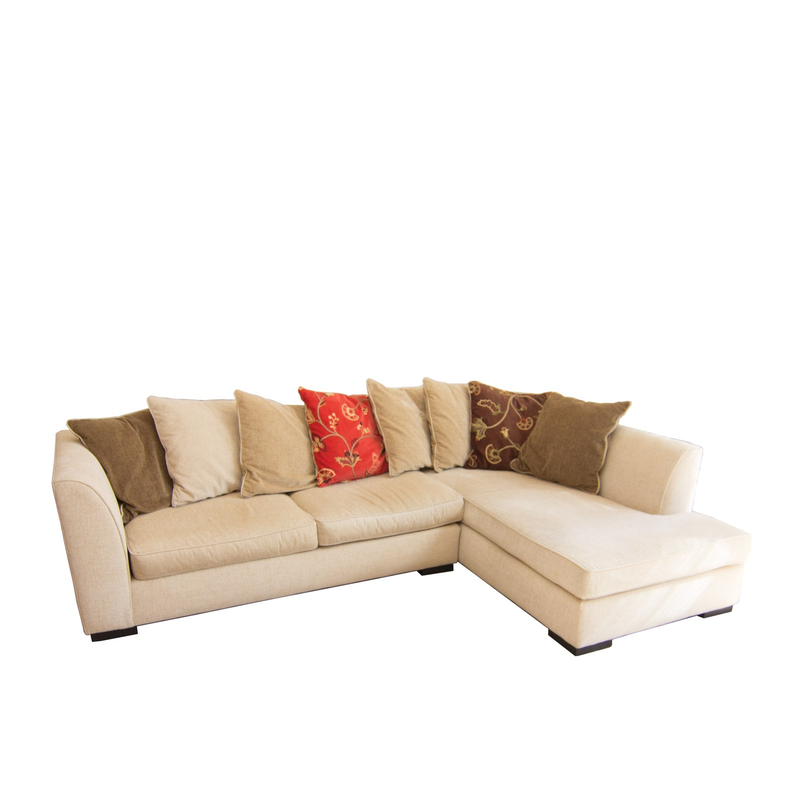 Upholstered Arhaus Sectional Sofa with Decorative Pillows