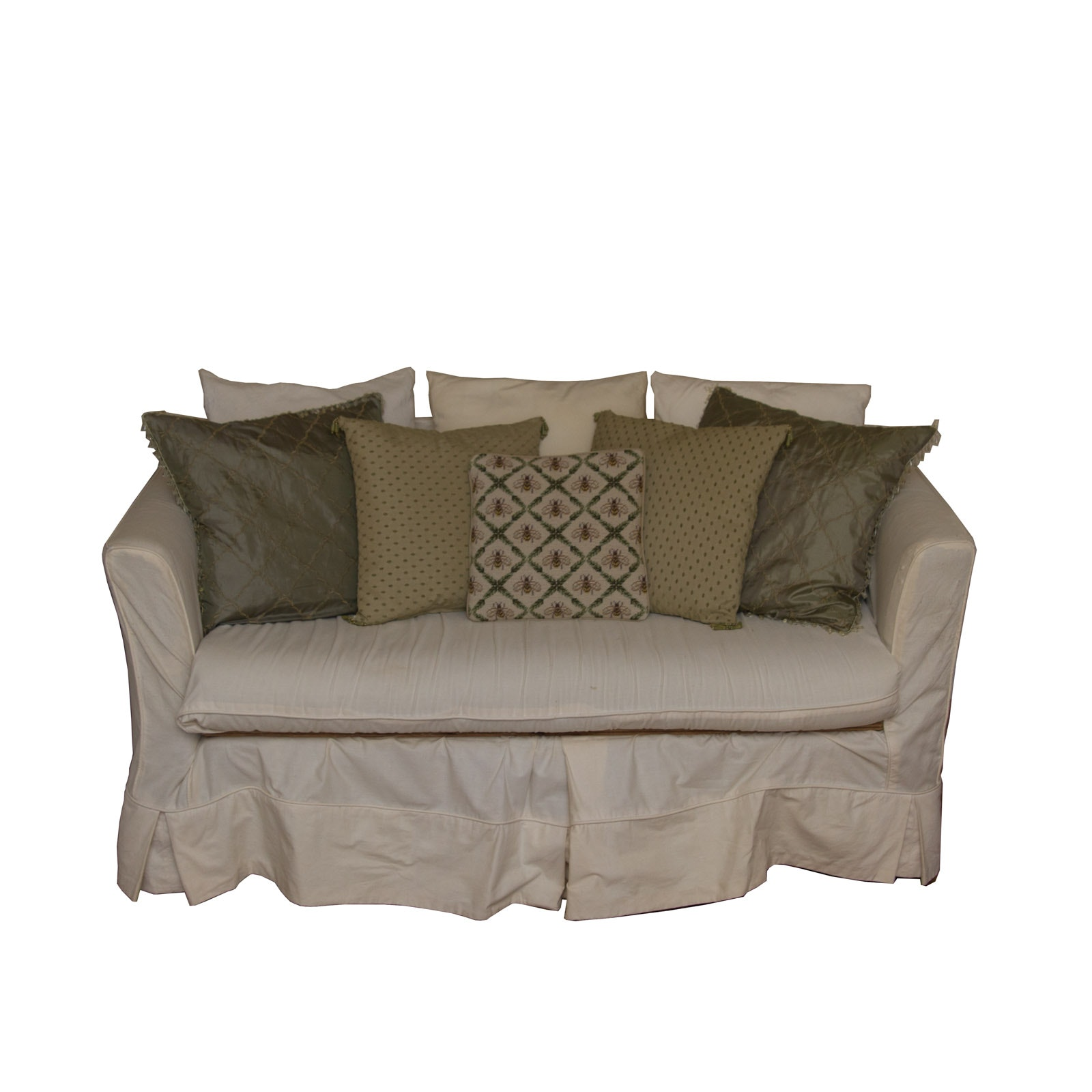 Upholstered Loveseat and Decorative Pillows