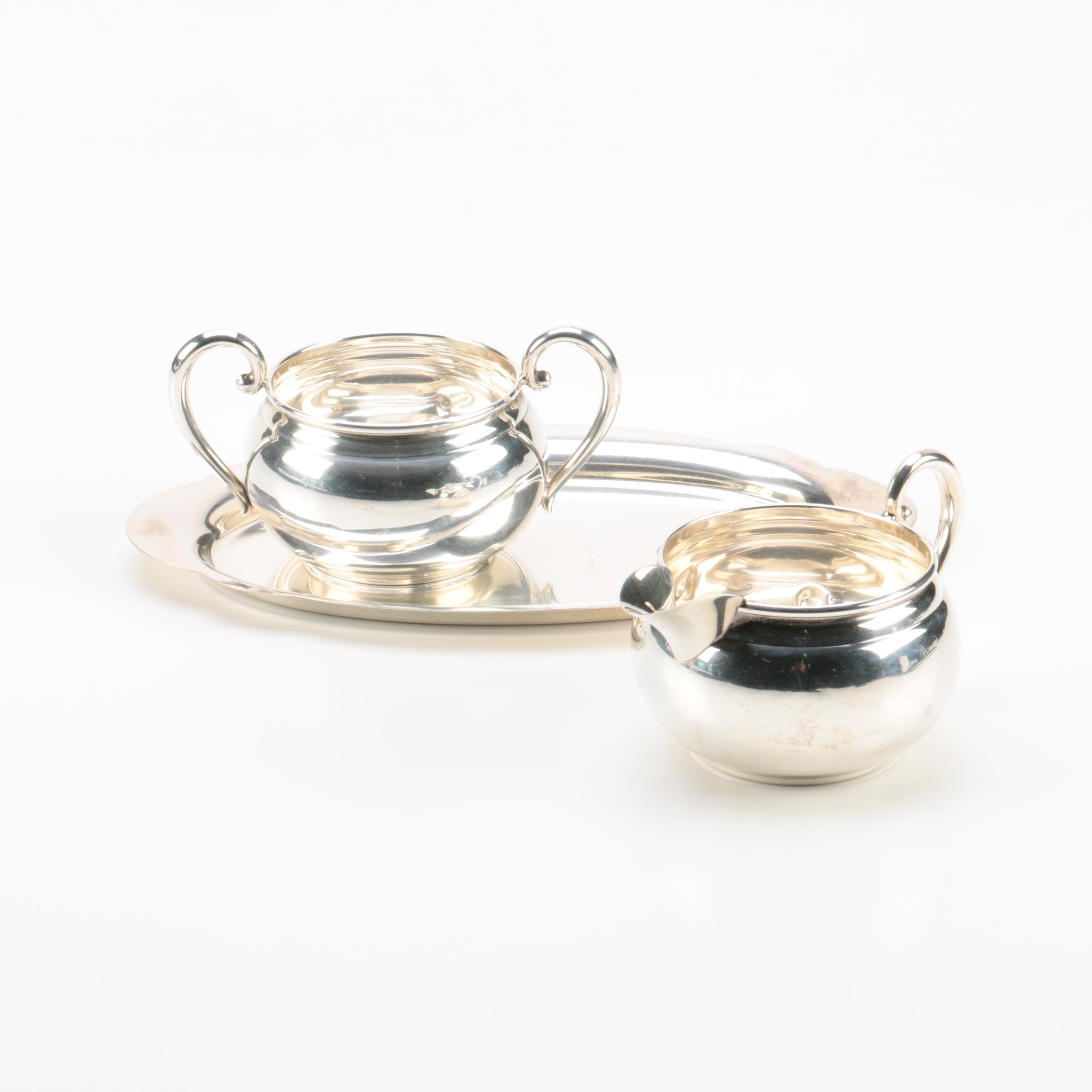 Revere Silversmiths Sterling Silver Creamer and Sugar with Tray