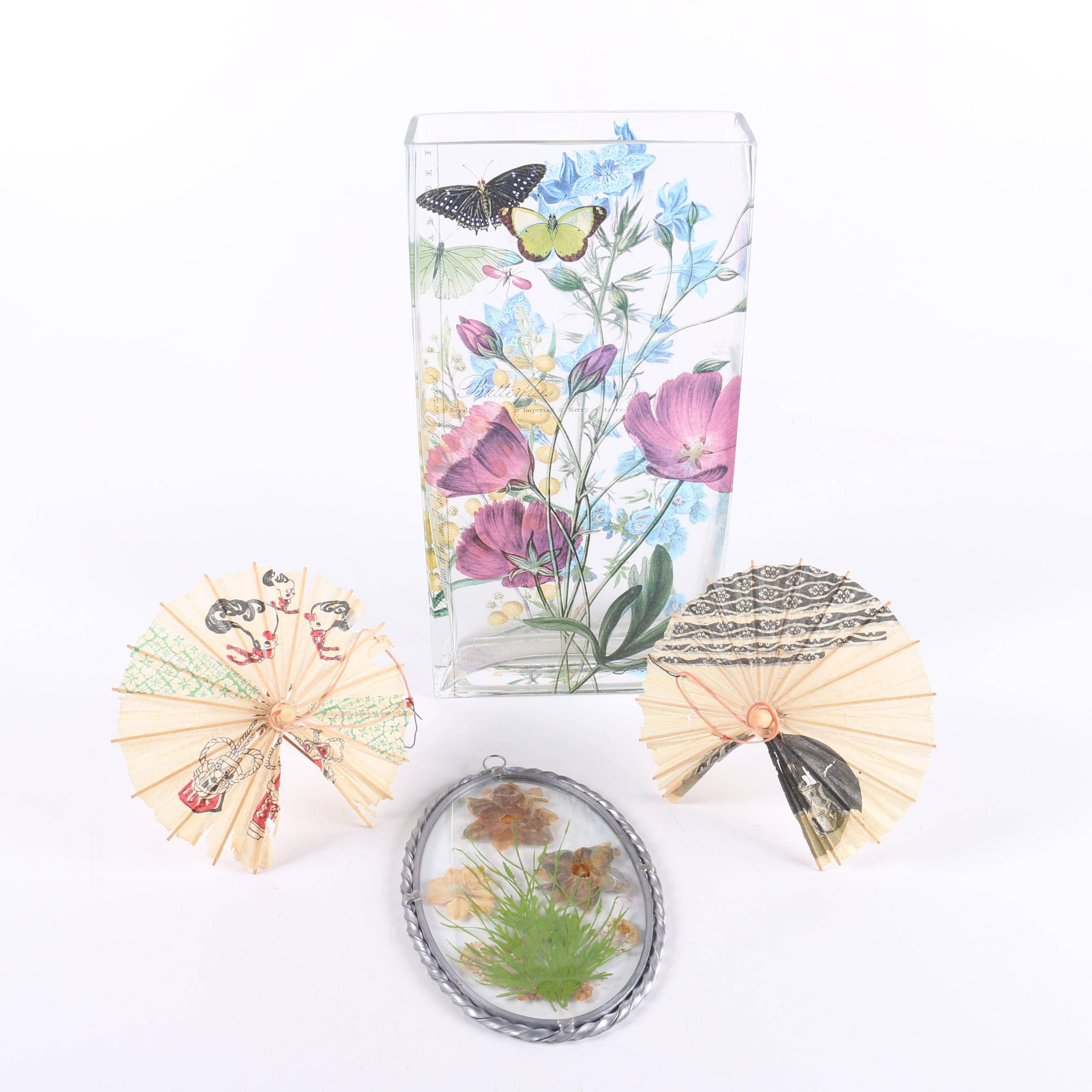 Floral Glass Vase, Pressed Flowers and Fans