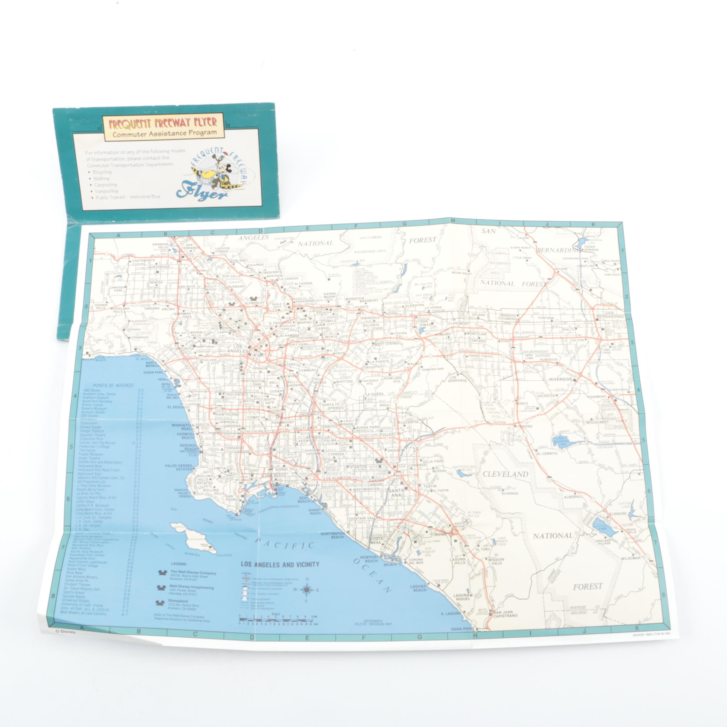 """Disney Frequent Freeway Flyer """"Minnie Map"""" of Southern California"""