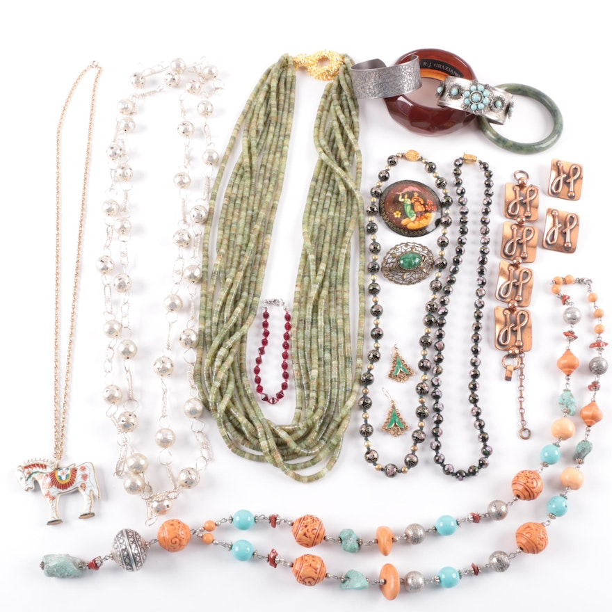 ellie a versatile aunt vintage s bone product serpentine it of gracefull the gunmetal tri color sivler collar costume chain tone very page necklace fall around and file graziano making chains gold