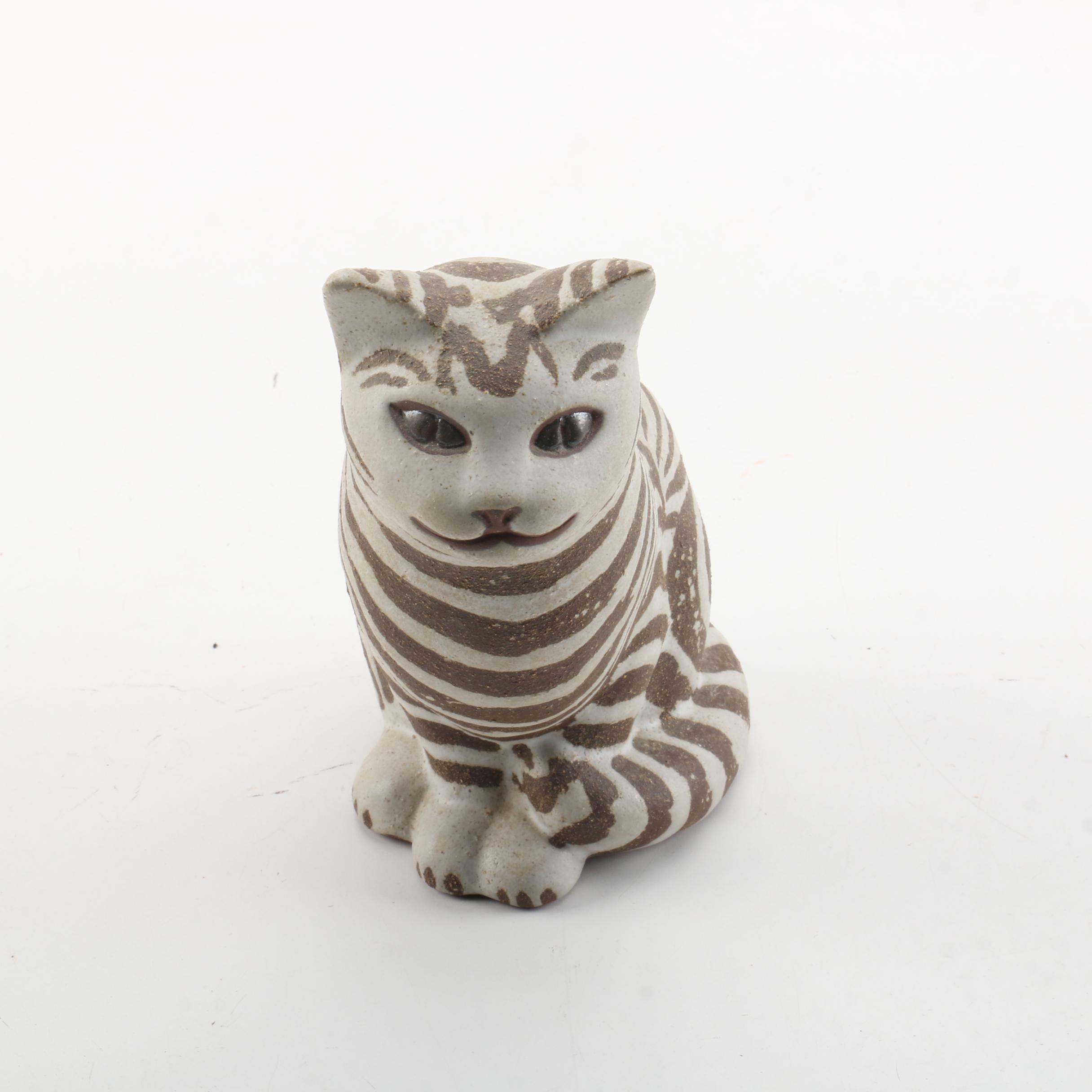 Striped Cat Figurine