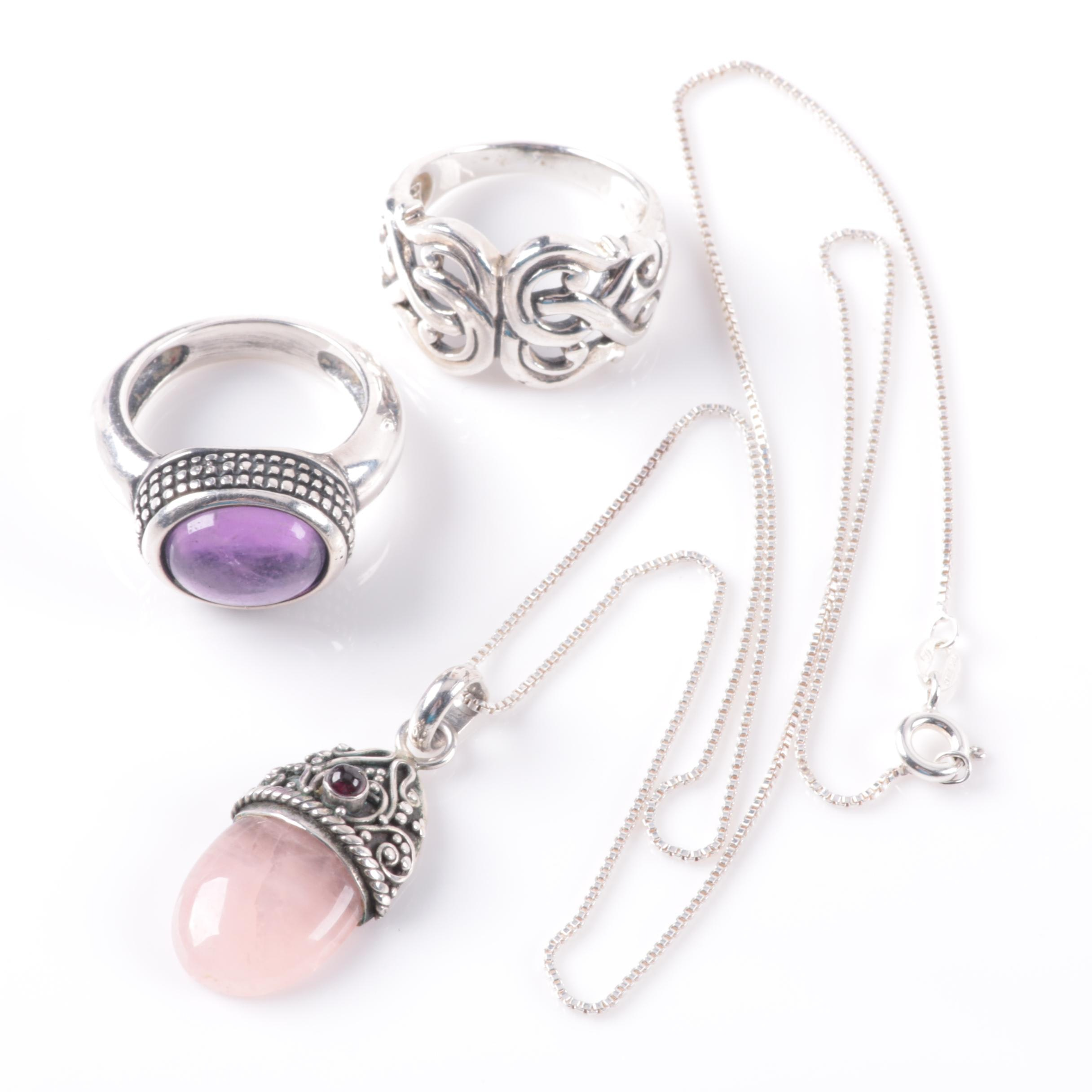 Sterling Silver Amethyst, Rose Quartz, and Garnet Necklace and Ring Selection