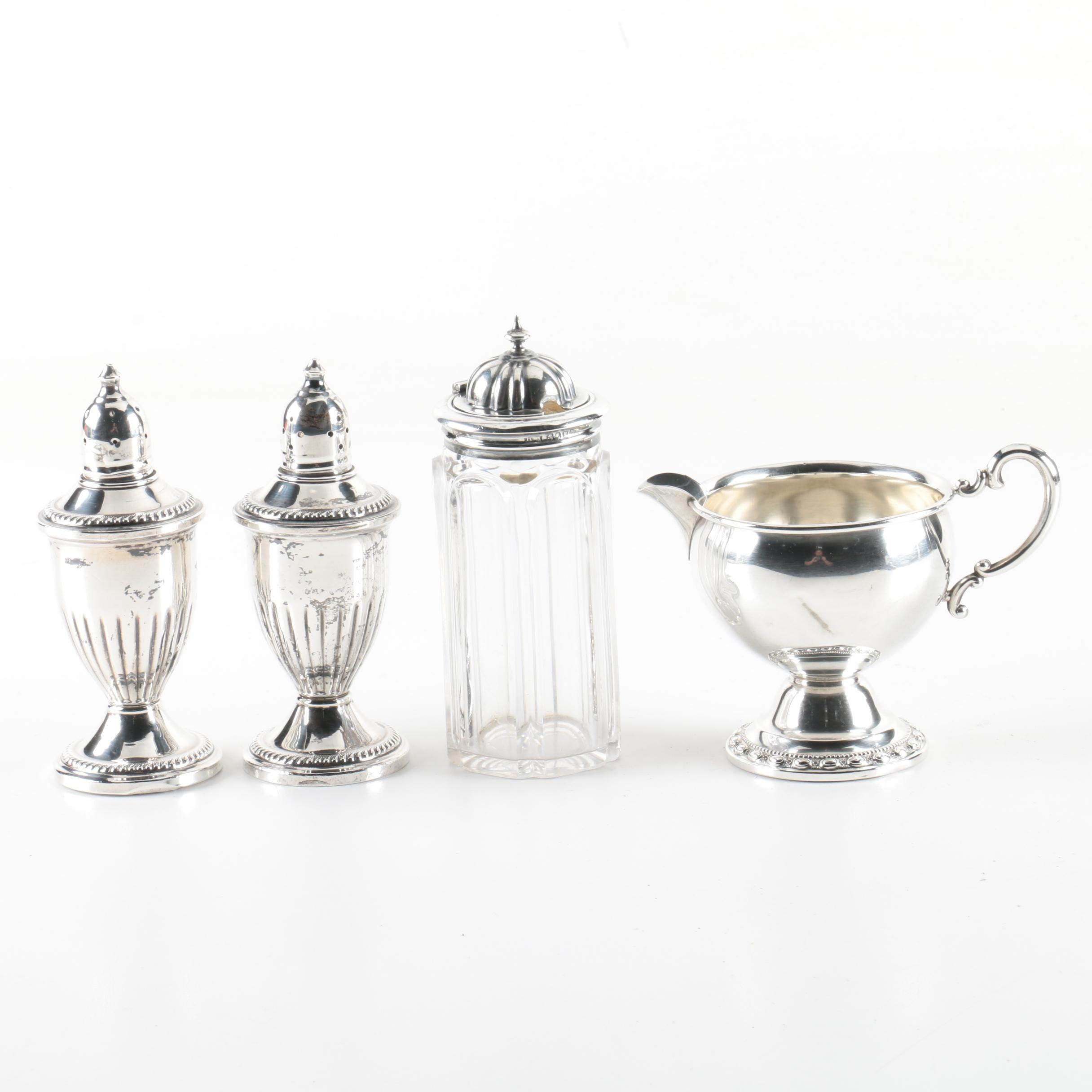 1854 Henry Manton Glass and Sterling Caster with Weighted Creamer and Shakers
