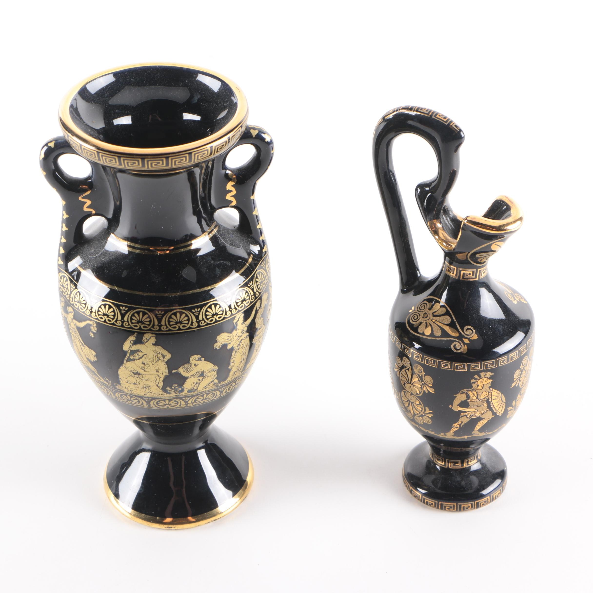 Greek Cruet and Urn with 24K Gold Accents