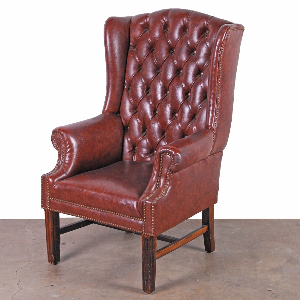 Faux Leather Tufted Wingback Chair ...