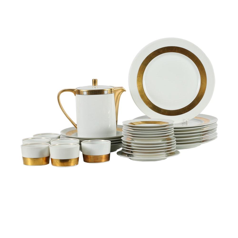 """Raynaud Ceralene Limoges """"Ambassador Gold"""" Porcelain Service"""