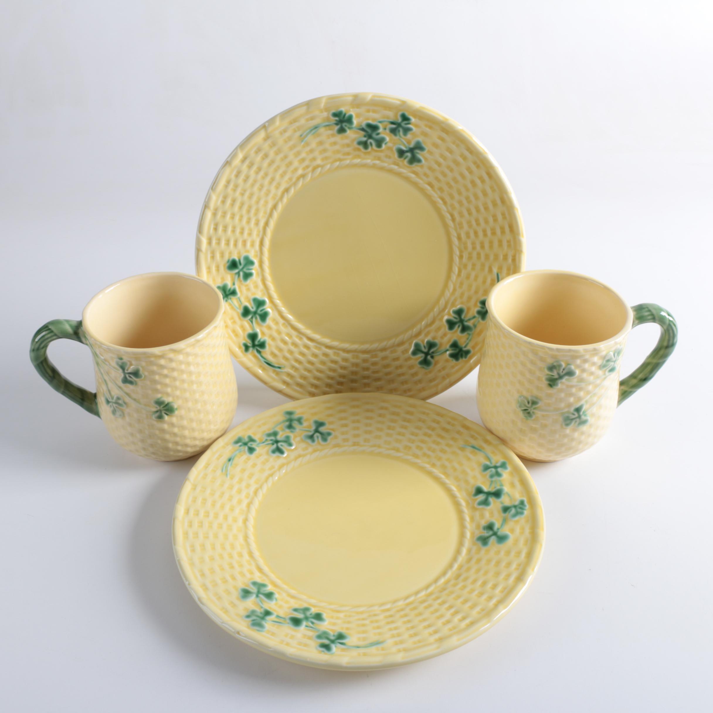 Portuguese Bordallo Pinheiro  Shamrock  Mugs and Plates ... & Portuguese Bordallo Pinheiro