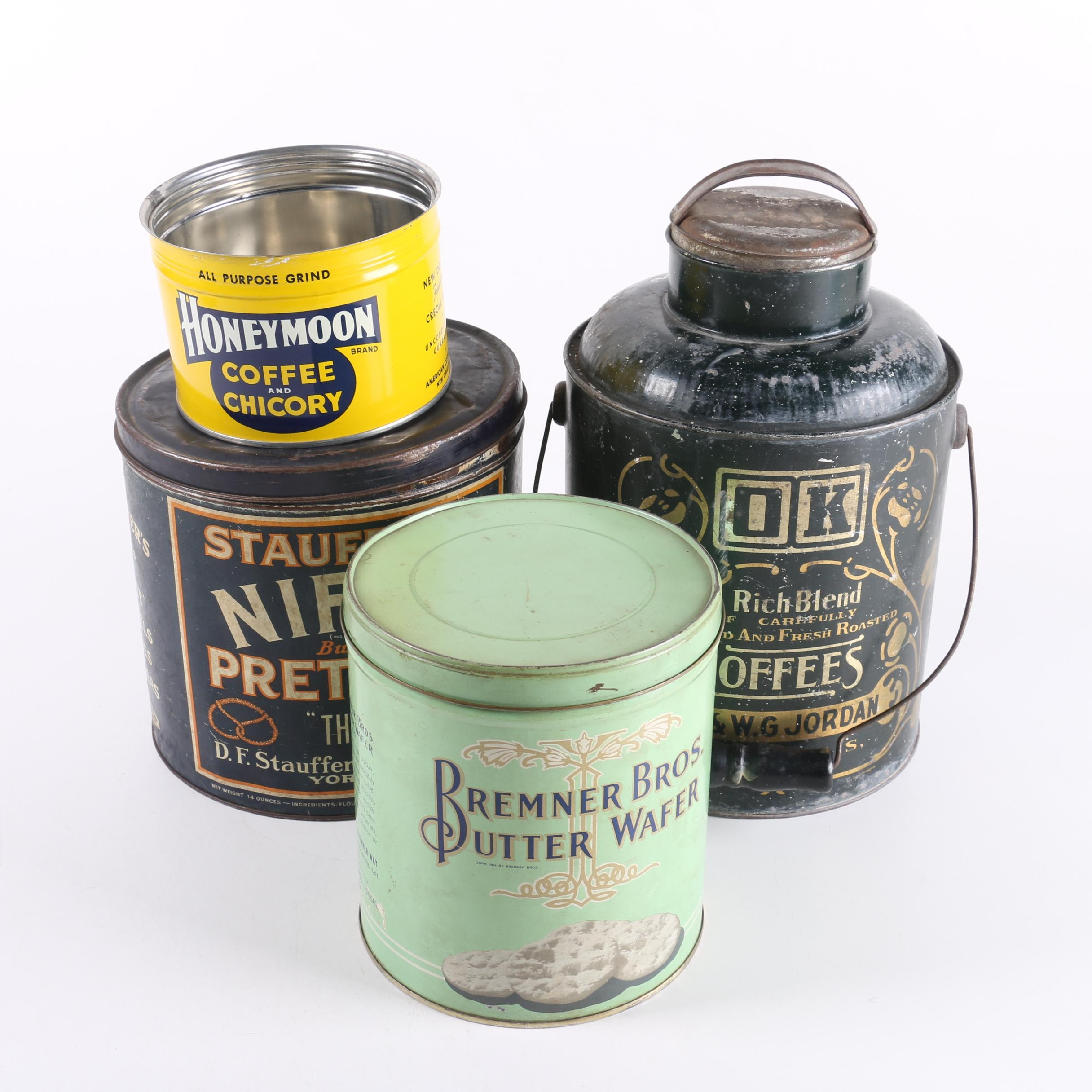 Honeymoon OK and Other Vintage Coffee and Food Tins