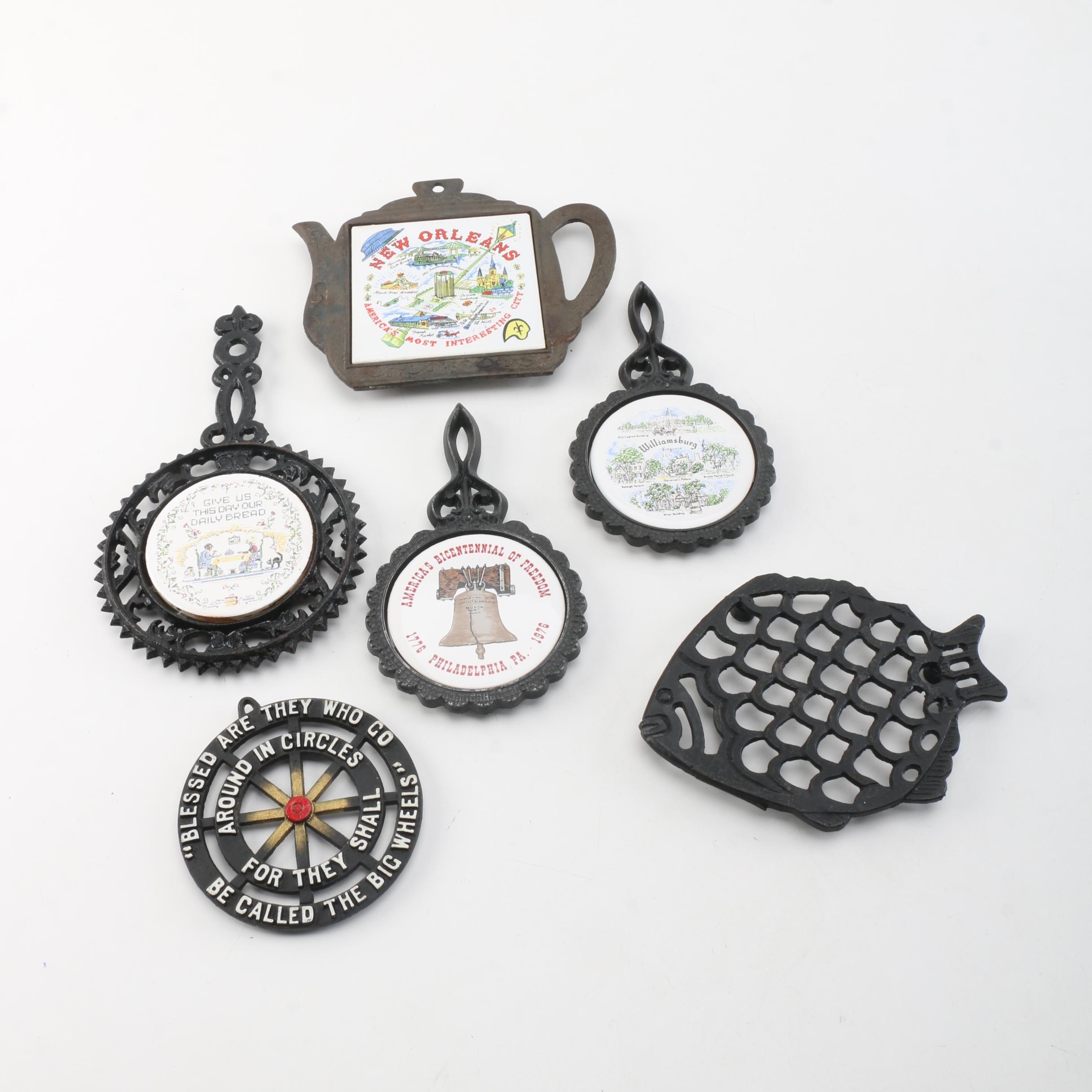 Cast Iron and Ceramic Trivets including Pilkington