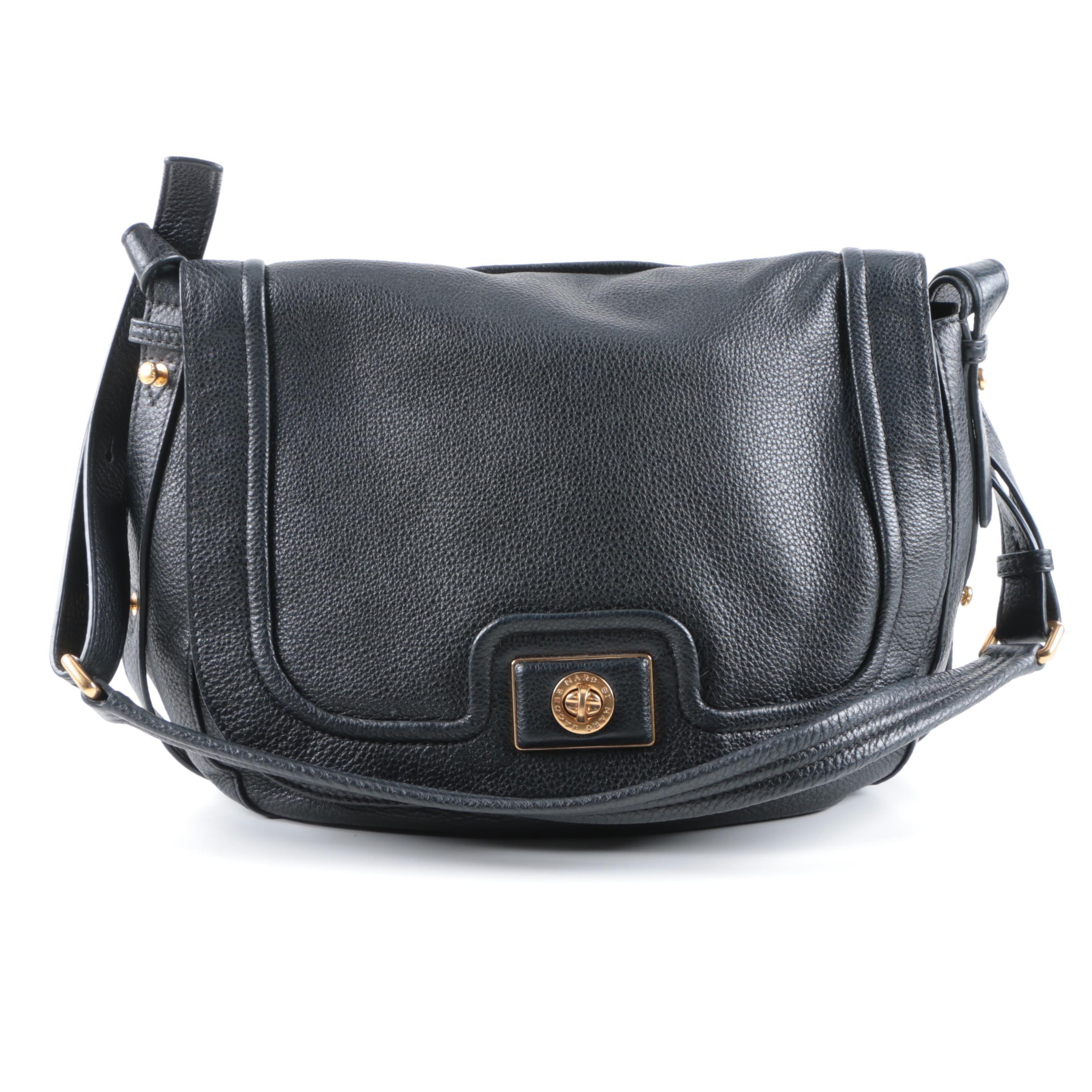 Marc by Marc Jacobs Black Grained Leather Shoulder Bag