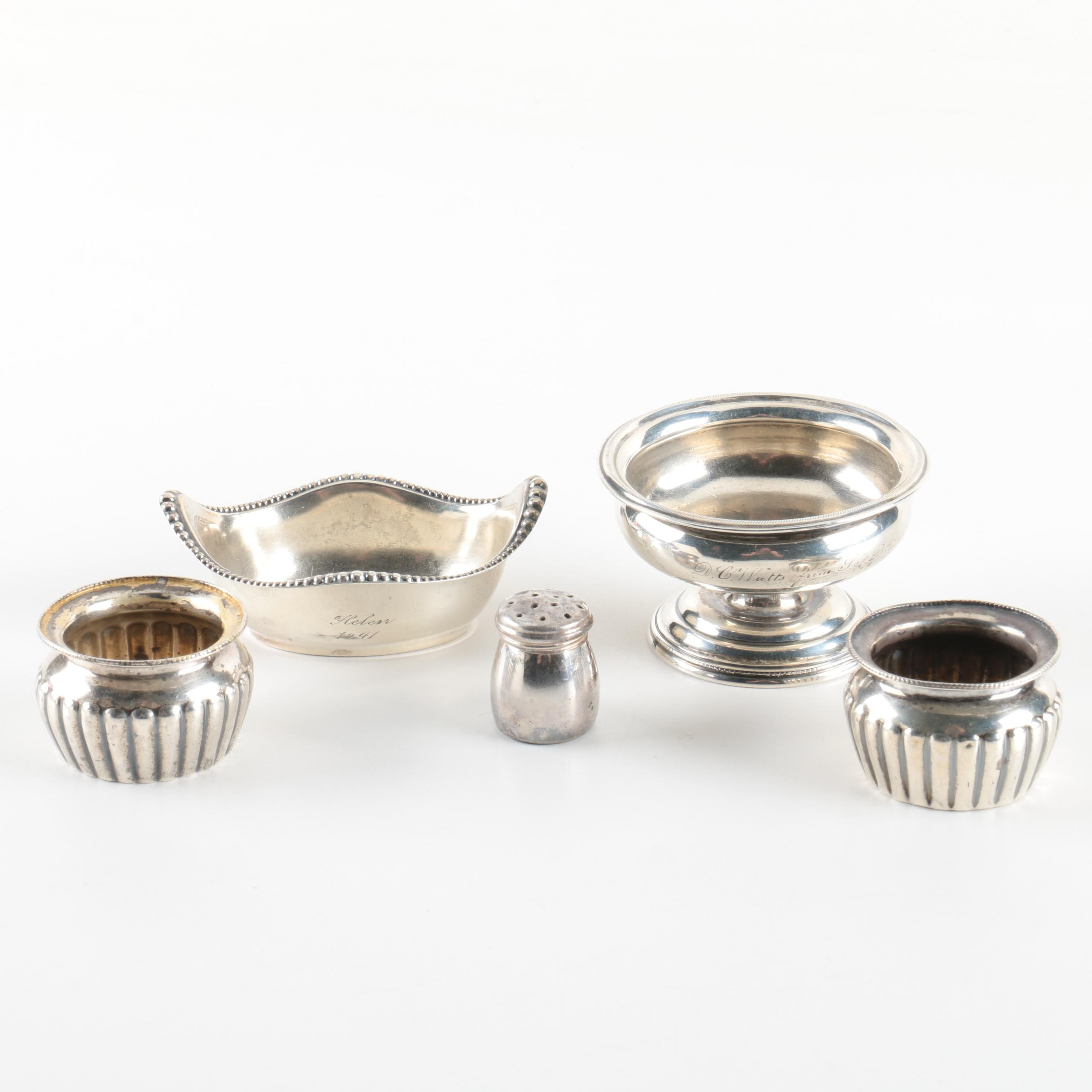 Gorham Sterling Silver Open Salt Cellars with Other Silver Tableware