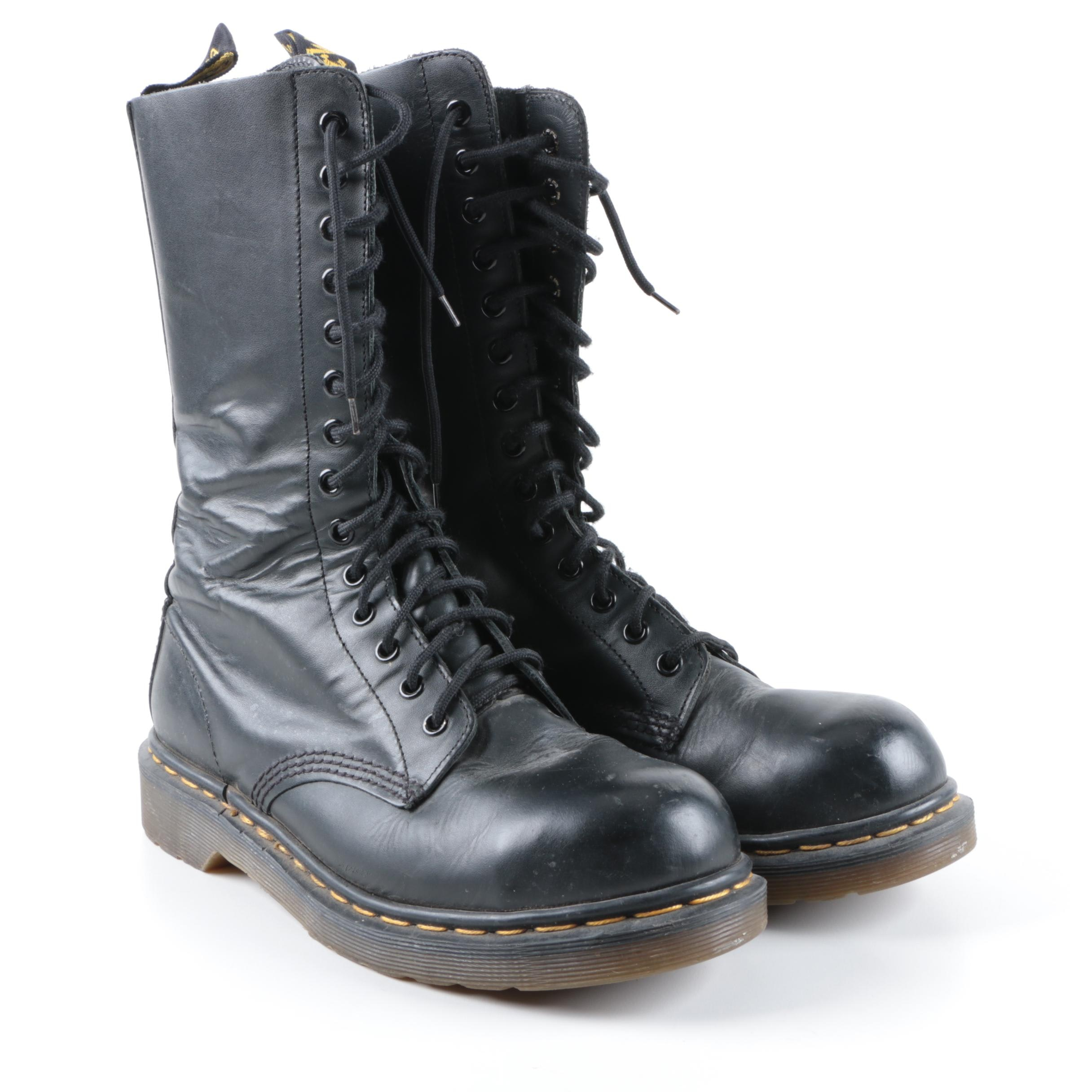 Dr. Martens Black Leather Lace-Up Combat Boots, Made in England
