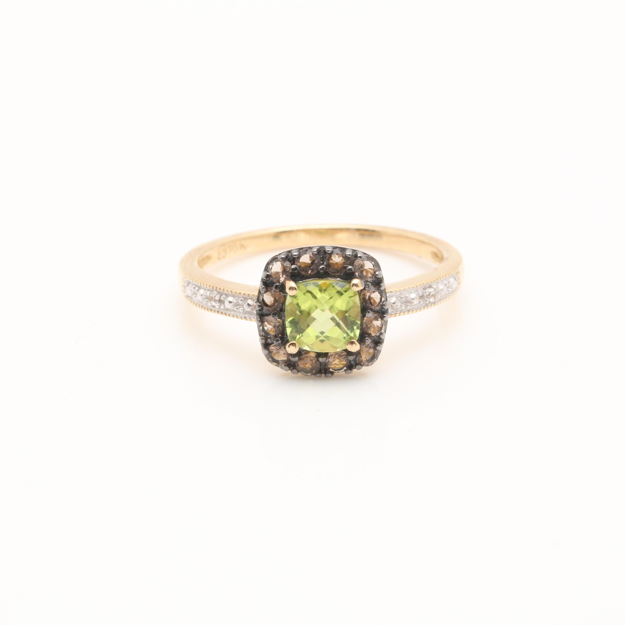 10K Two Tone Gold Peridot, Smoky Quartz and White Sapphire Ring