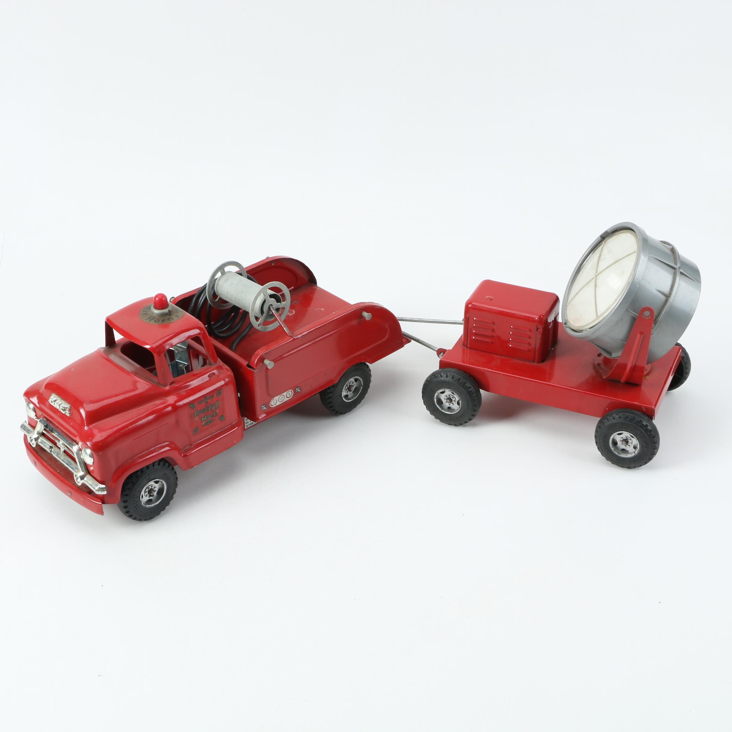 Buddy L Pressed Steel Firetruck and Spotlight