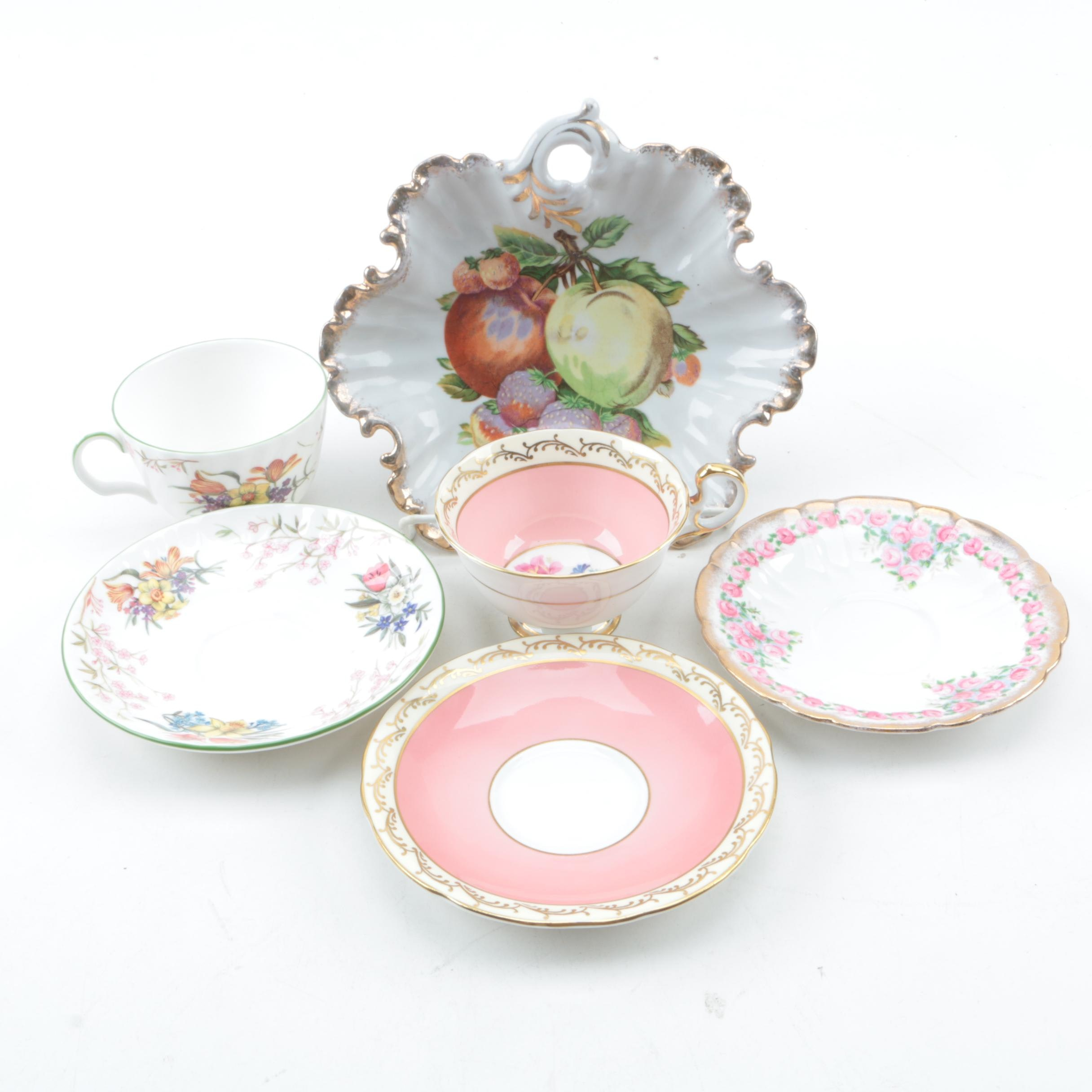 Teacups and Saucers with Serving Dish