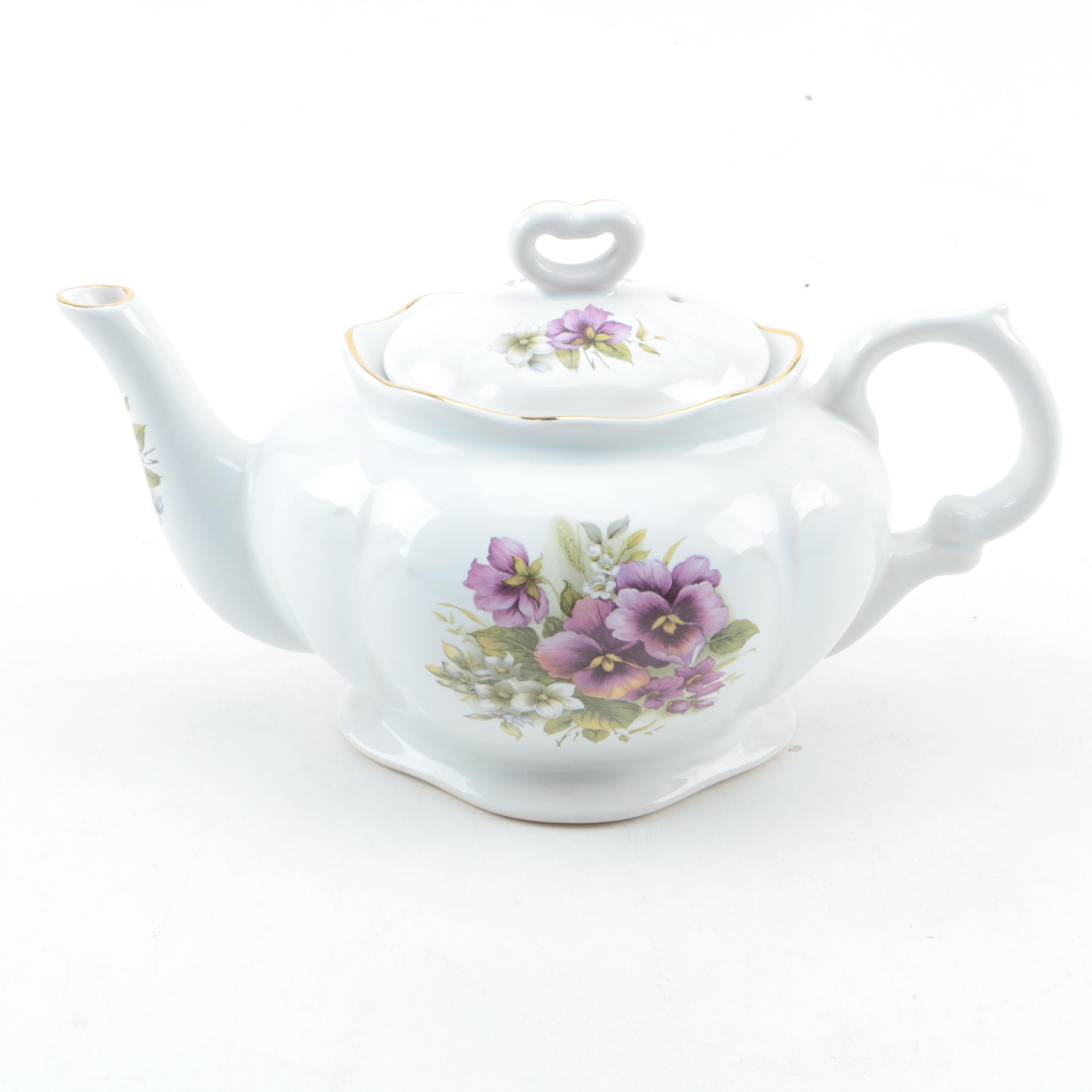 Kernewek Purple Impatiens Porcelain Teapot