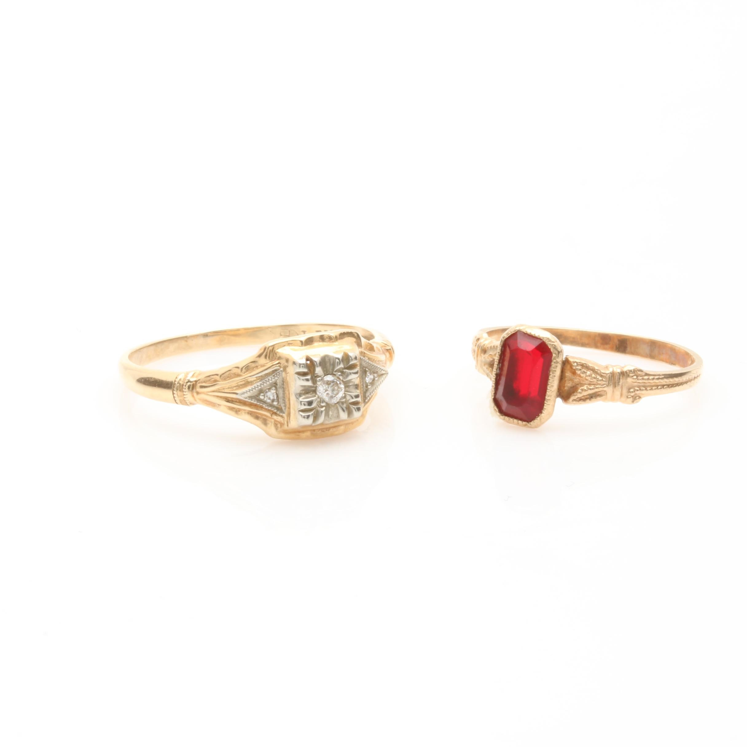10K and 14K Yellow Gold Diamond and Red Glass Rings