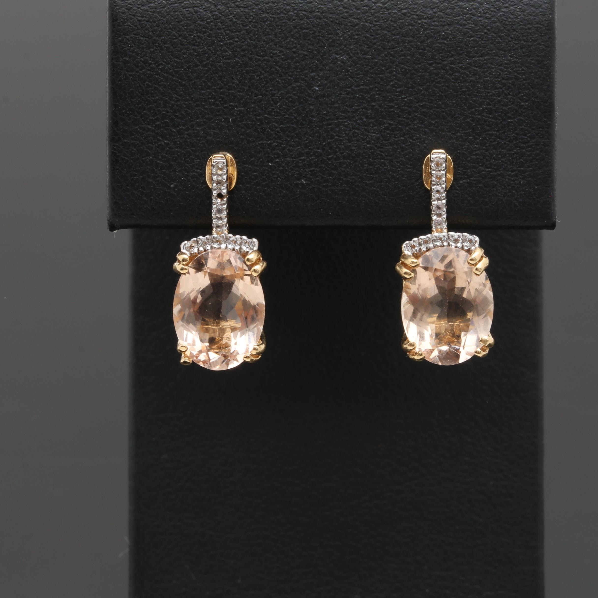 18K Yellow Gold Morganite and White Topaz Earrings