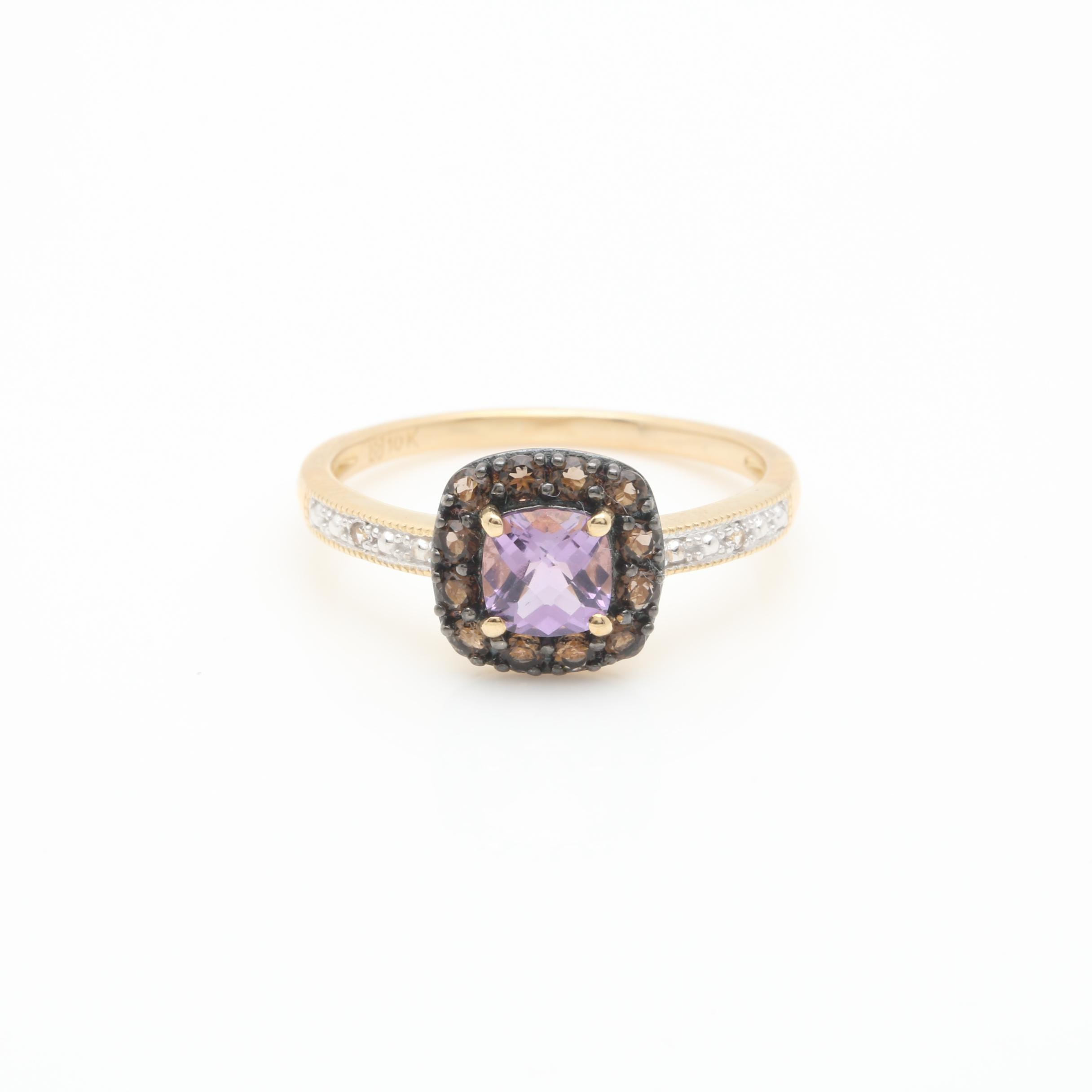 10K Yellow Gold Amethyst, Smoky Quartz and White Sapphire Ring