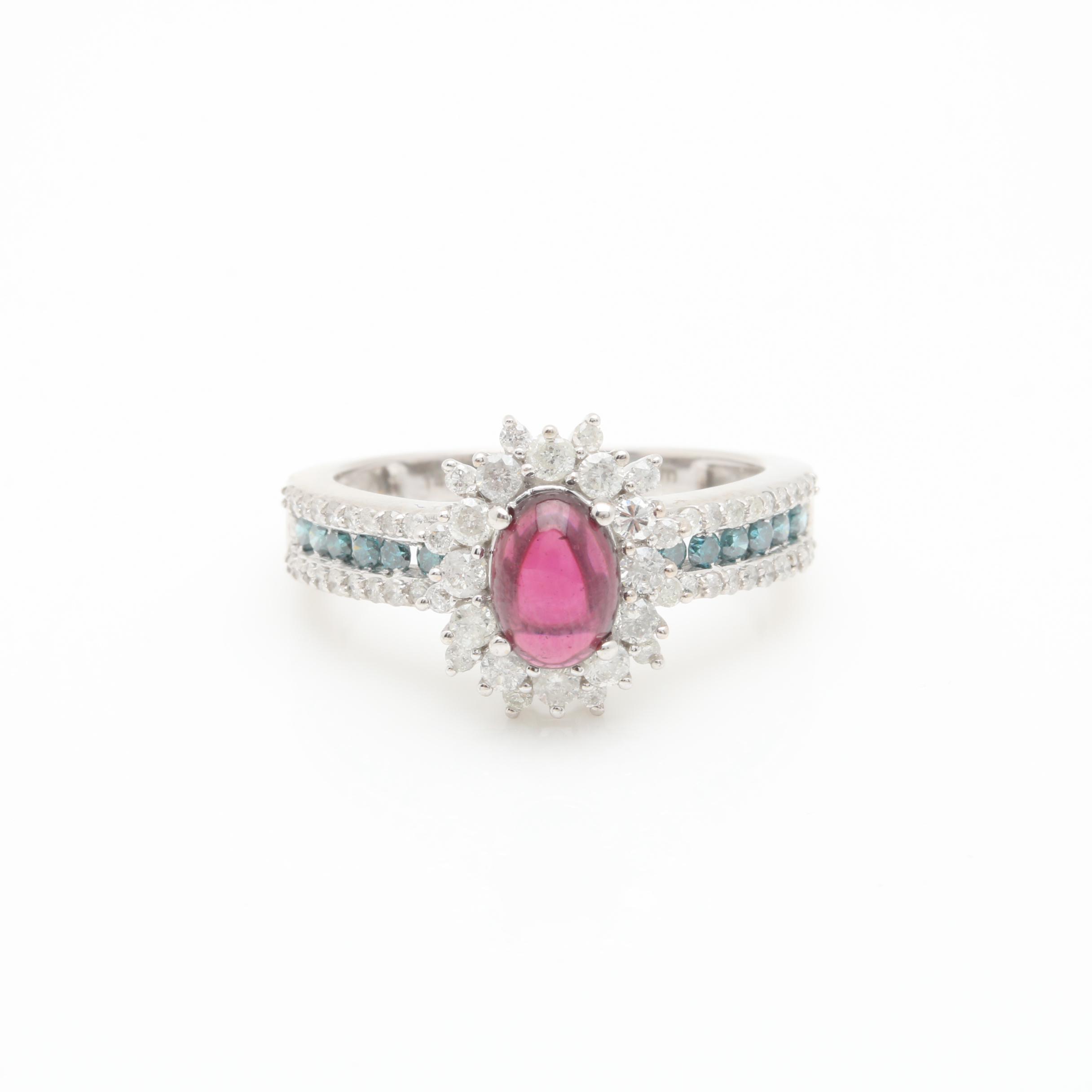 14K White Gold Garnet and Diamond Ring