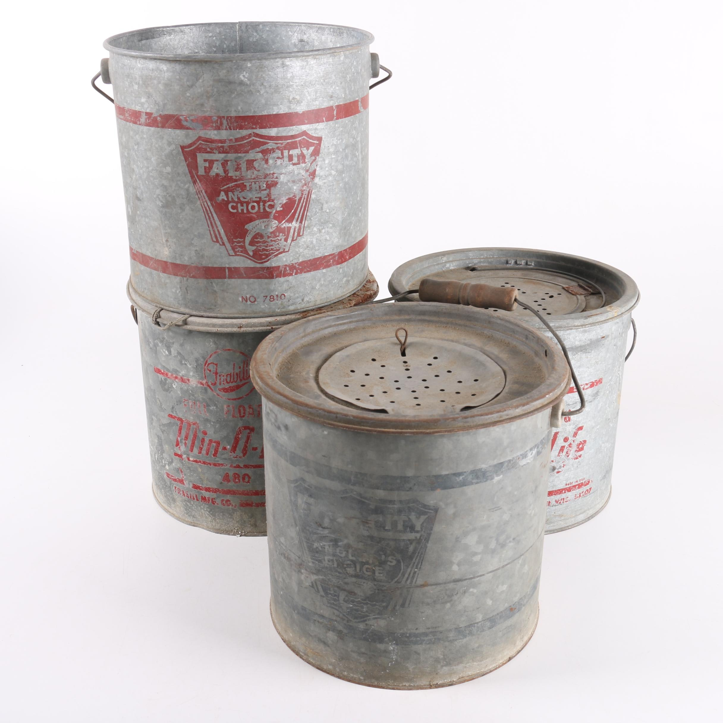 Vintage Falls City and Frabill's Metal Minnow Buckets