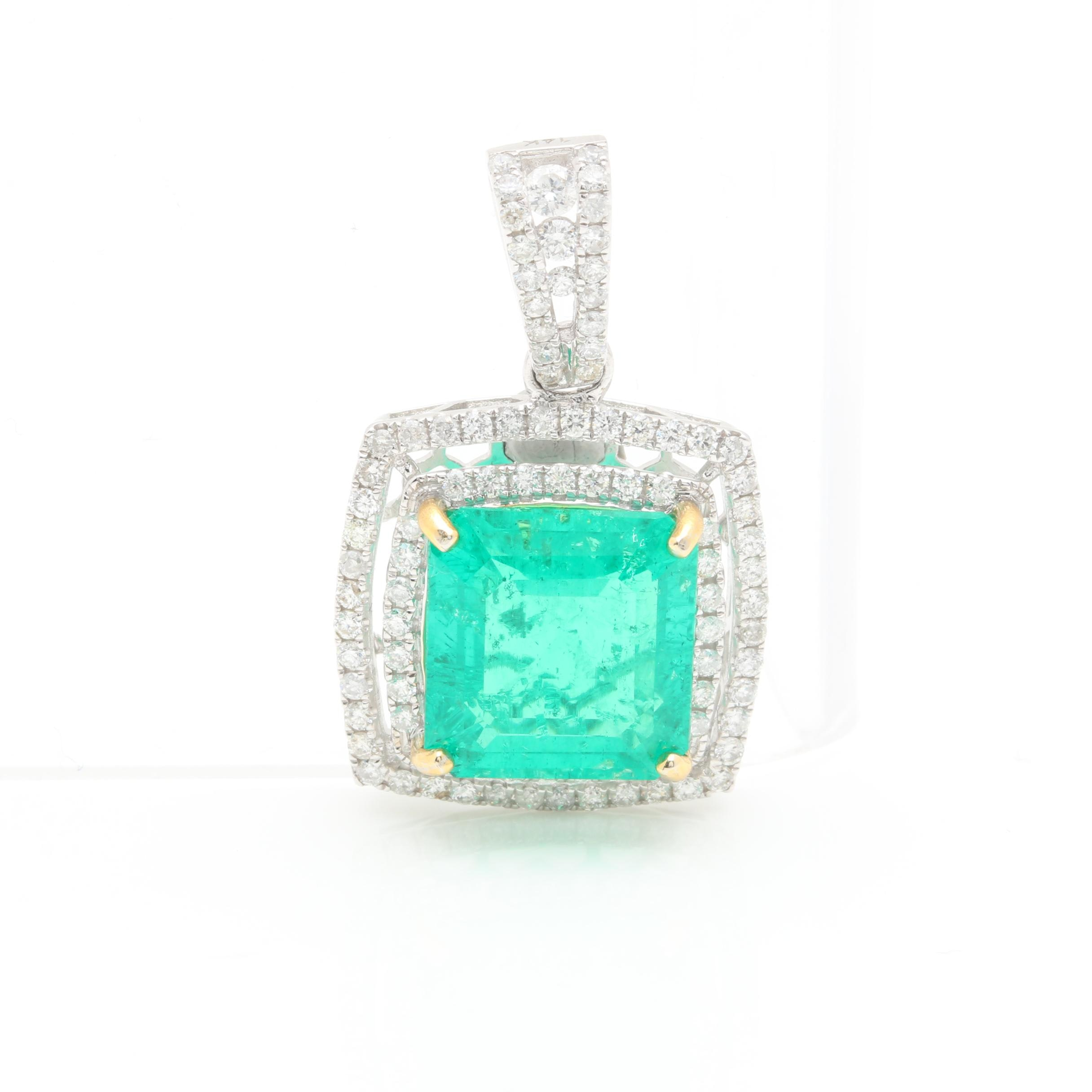 14K White Gold Synthetic Emerald and 1.00 CTW Diamond Pendant