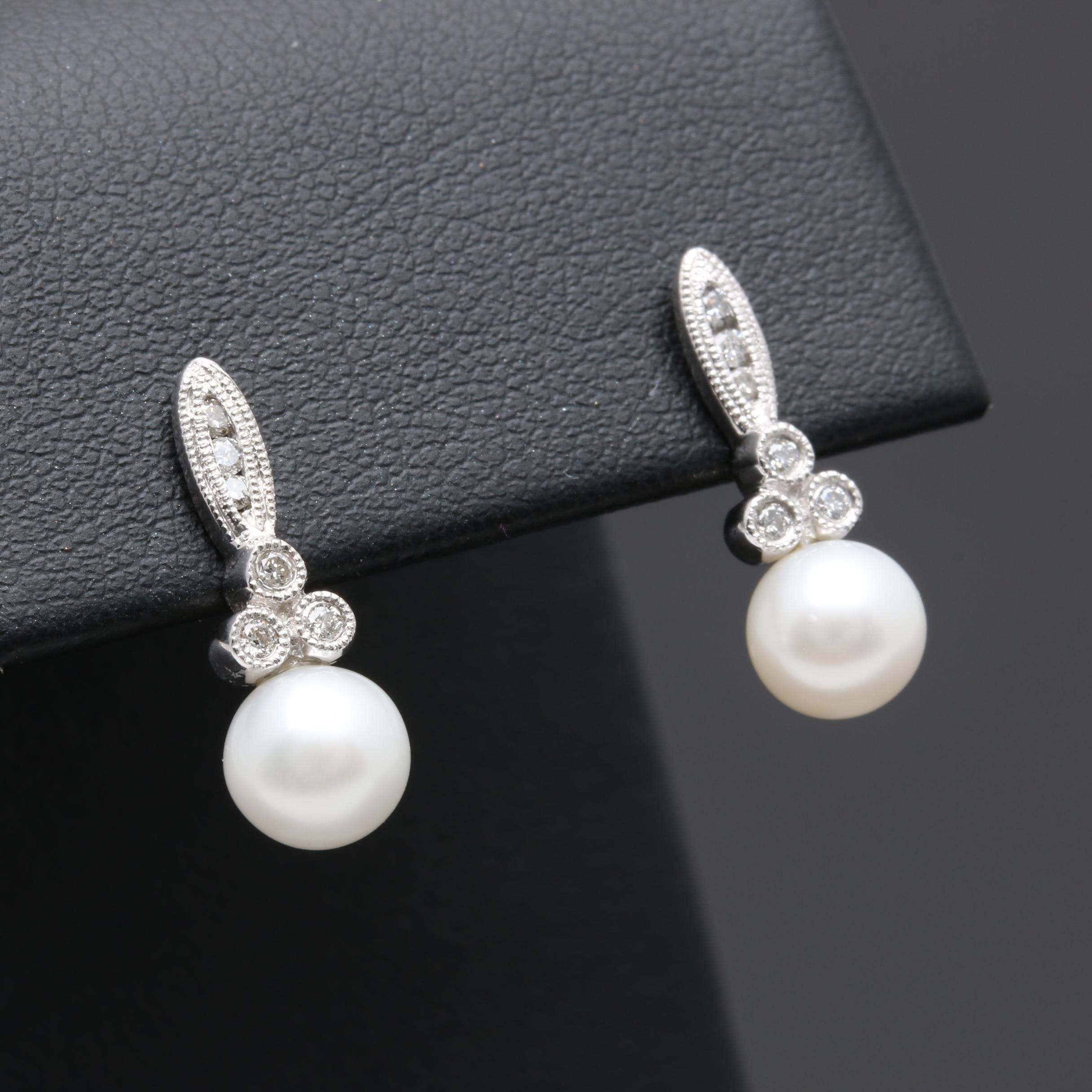 10K White Gold Cultured Pearl and Diamond Drop Earrings