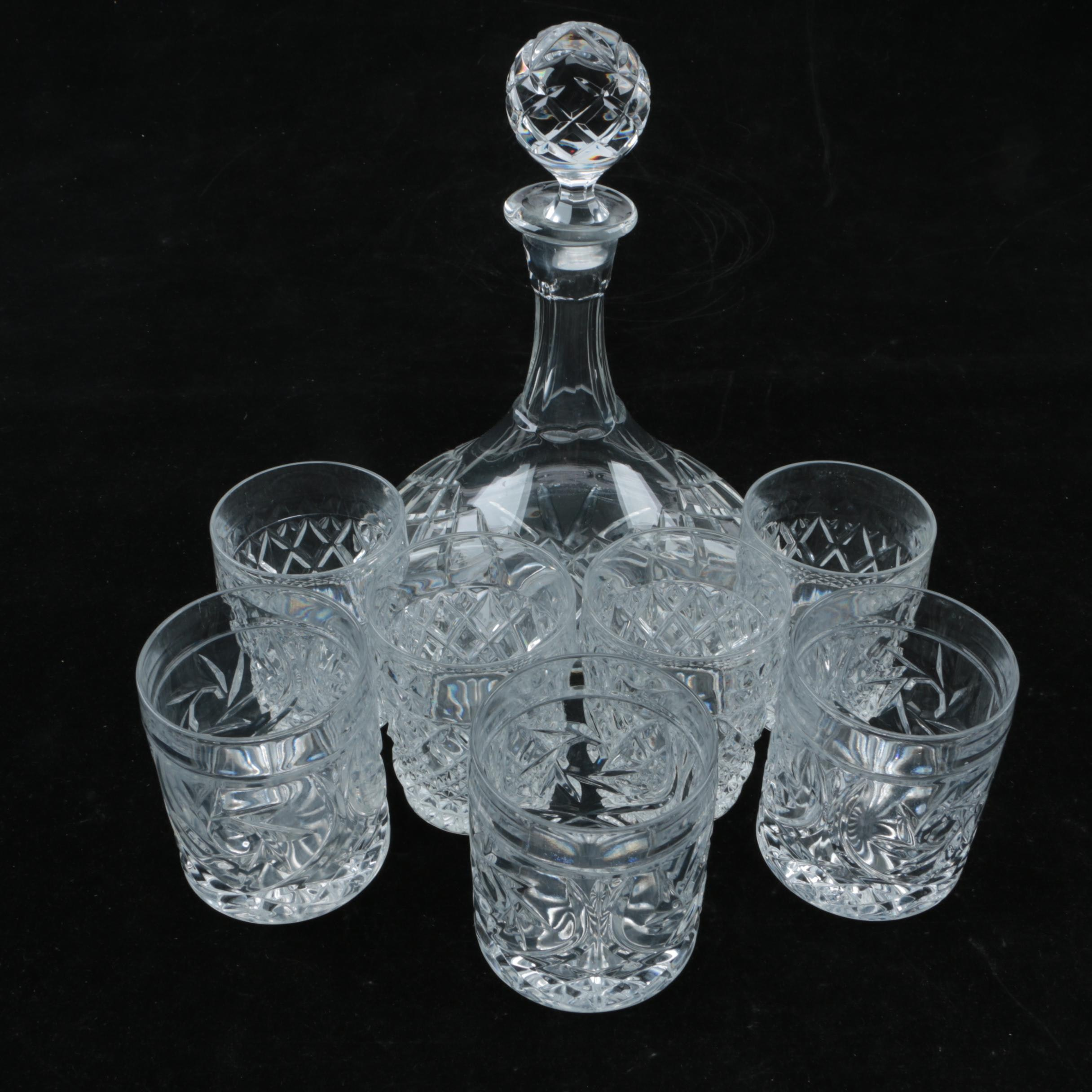 Crystal Ships Decanter with Pressed Crystal Old Fashioned Glasses