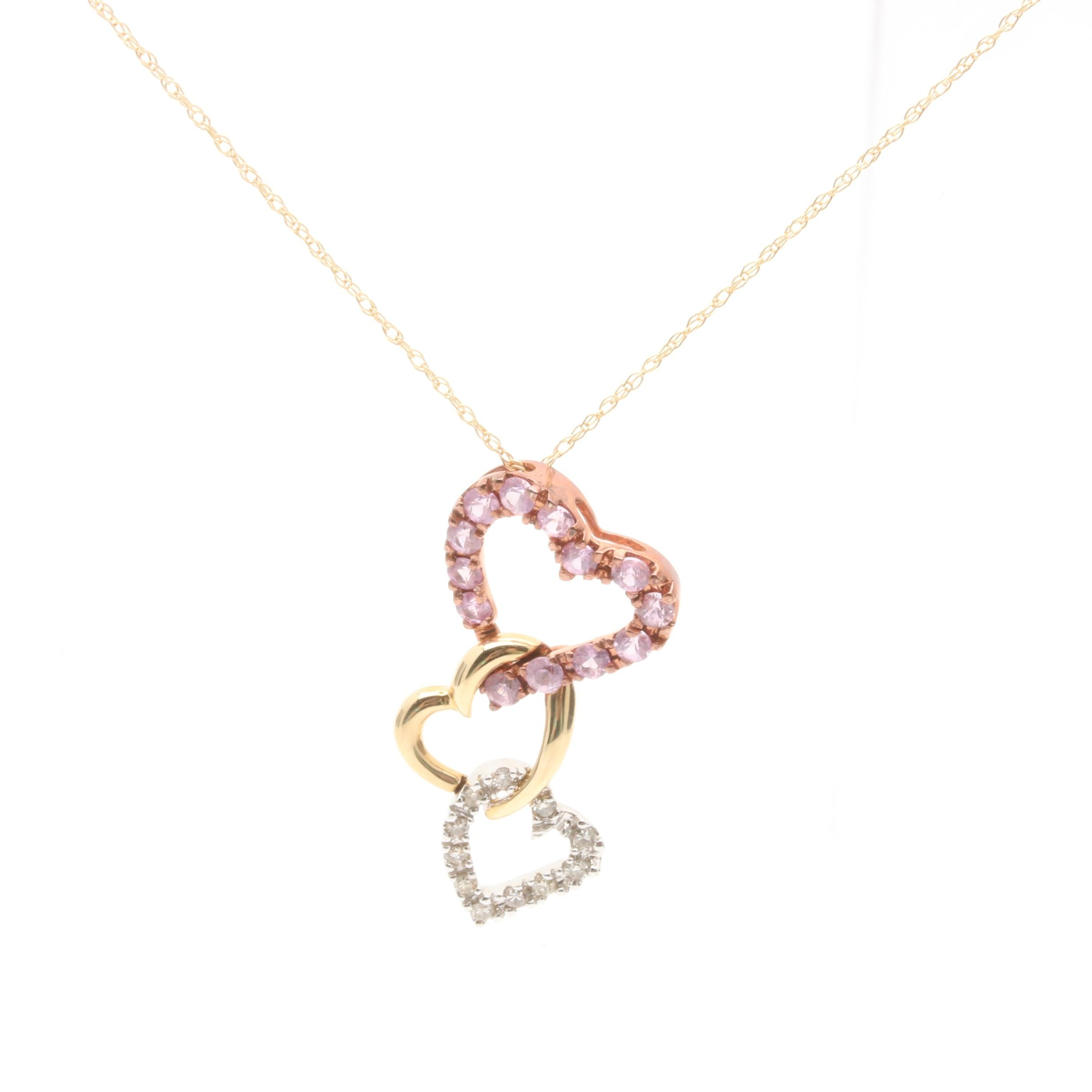 14K Yellow Gold Pink Sapphire and Diamond Heart Pendant Necklace